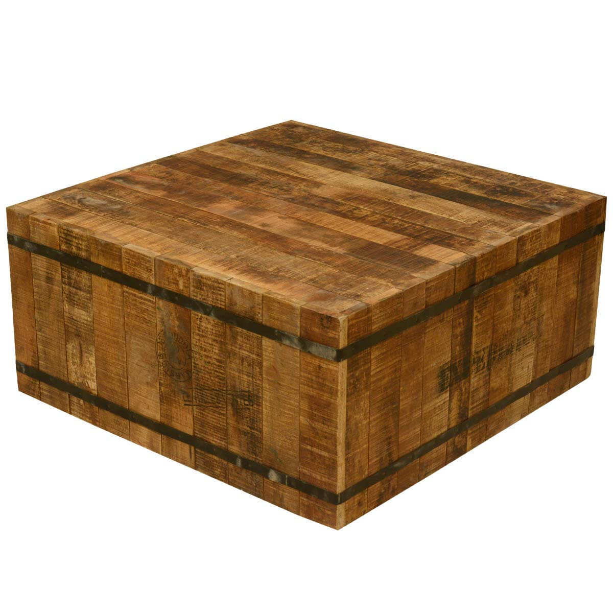 Reclaimed Wood And Metal Coffee Table: Hand Crafted Rustic Reclaimed Wood And Iron Coffee Table