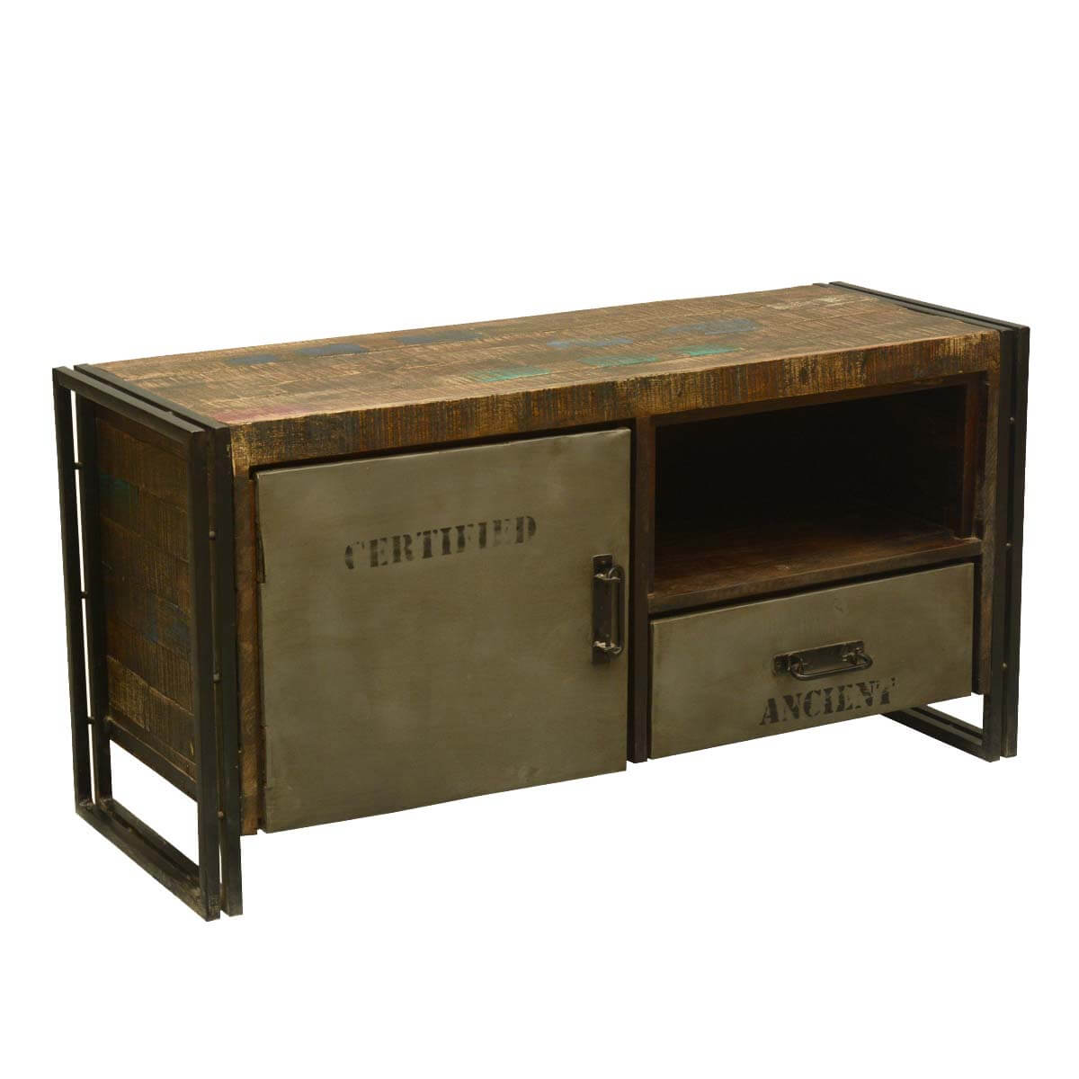 Rustic Modern Industrial Reclaimed Wood And Iron Media Console: modern media console
