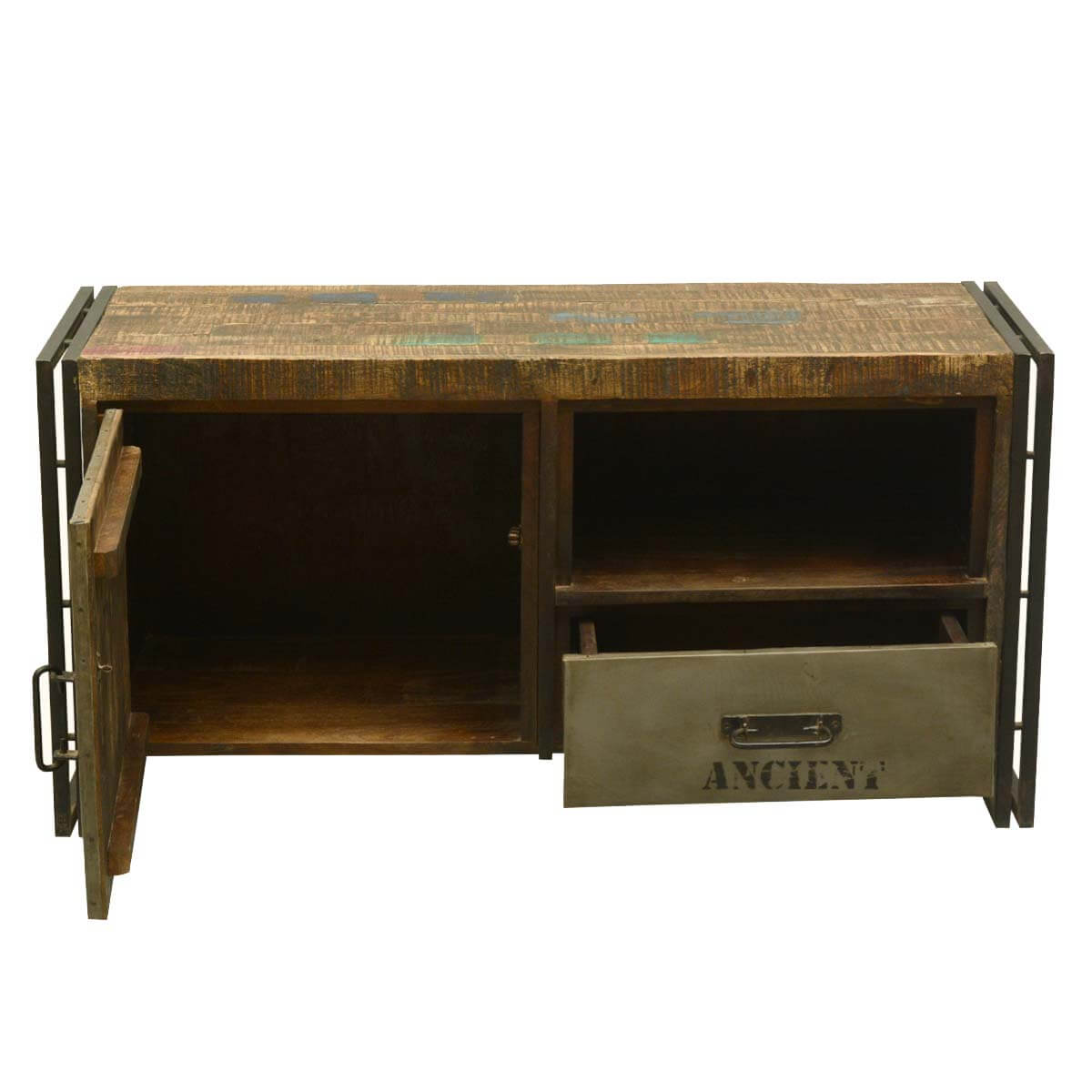 Stylish Rustic Media Console : ... Room Rustic Modern Industrial Reclaimed Wood and Iron Media Console