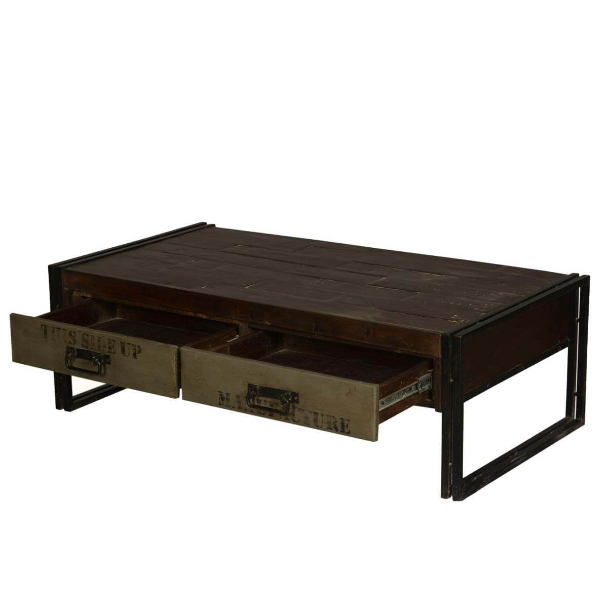 Philadelphia modern rustic reclaimed wood metal coffee table for Reclaimed teak wood coffee table