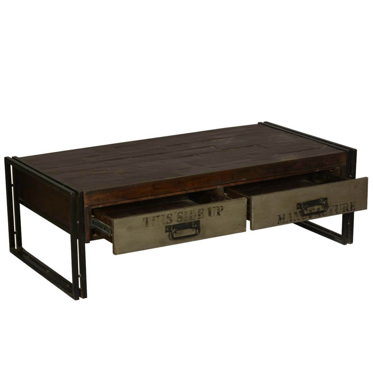 Philadelphia modern rustic reclaimed wood metal coffee table for Wire coffee table