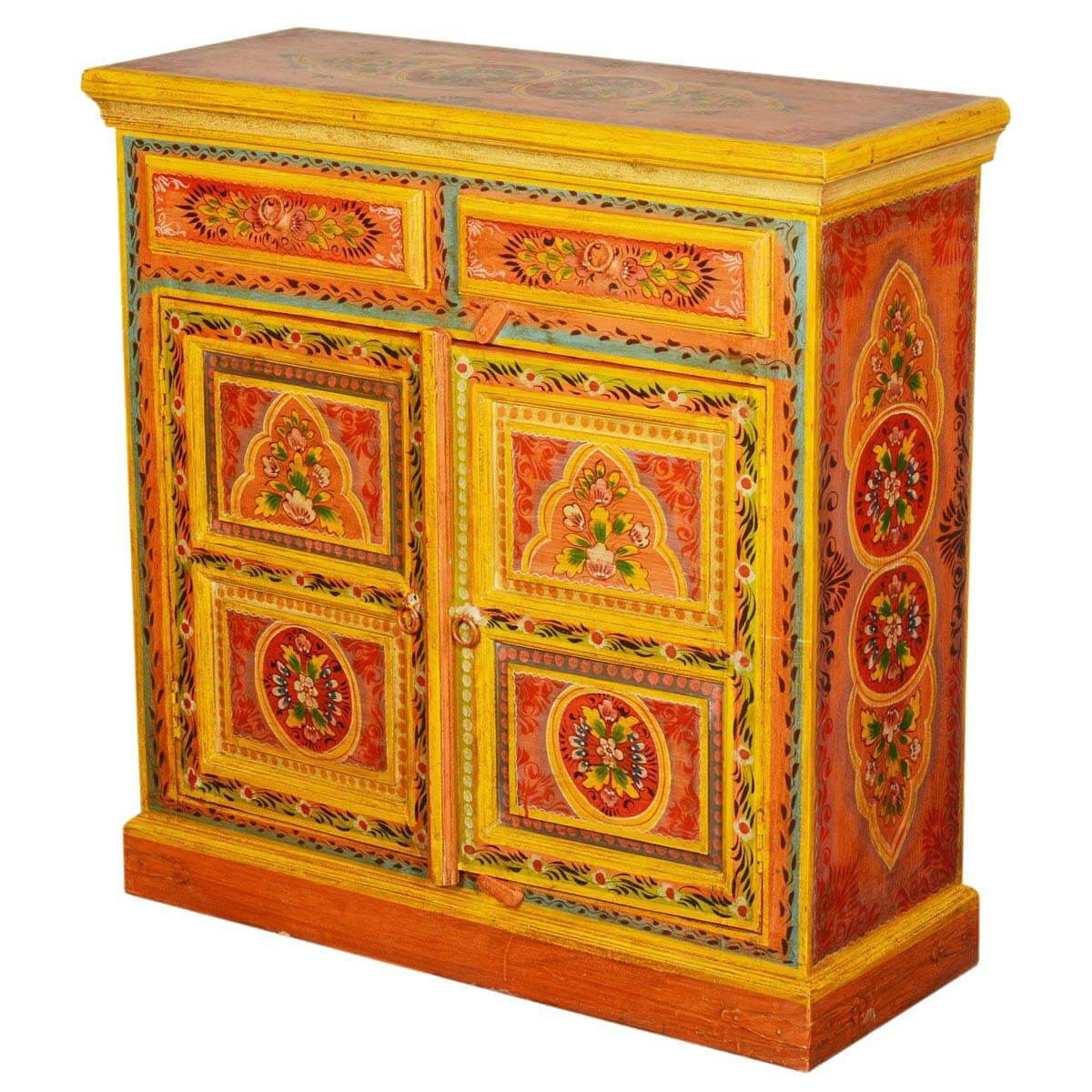 Collection Sun Garden Orange Hand Painted Mango Wood Buffet Cabinet. Full resolution‎  photograph, nominally Width 1200 Height 1200 pixels, photograph with #BF8E0C.