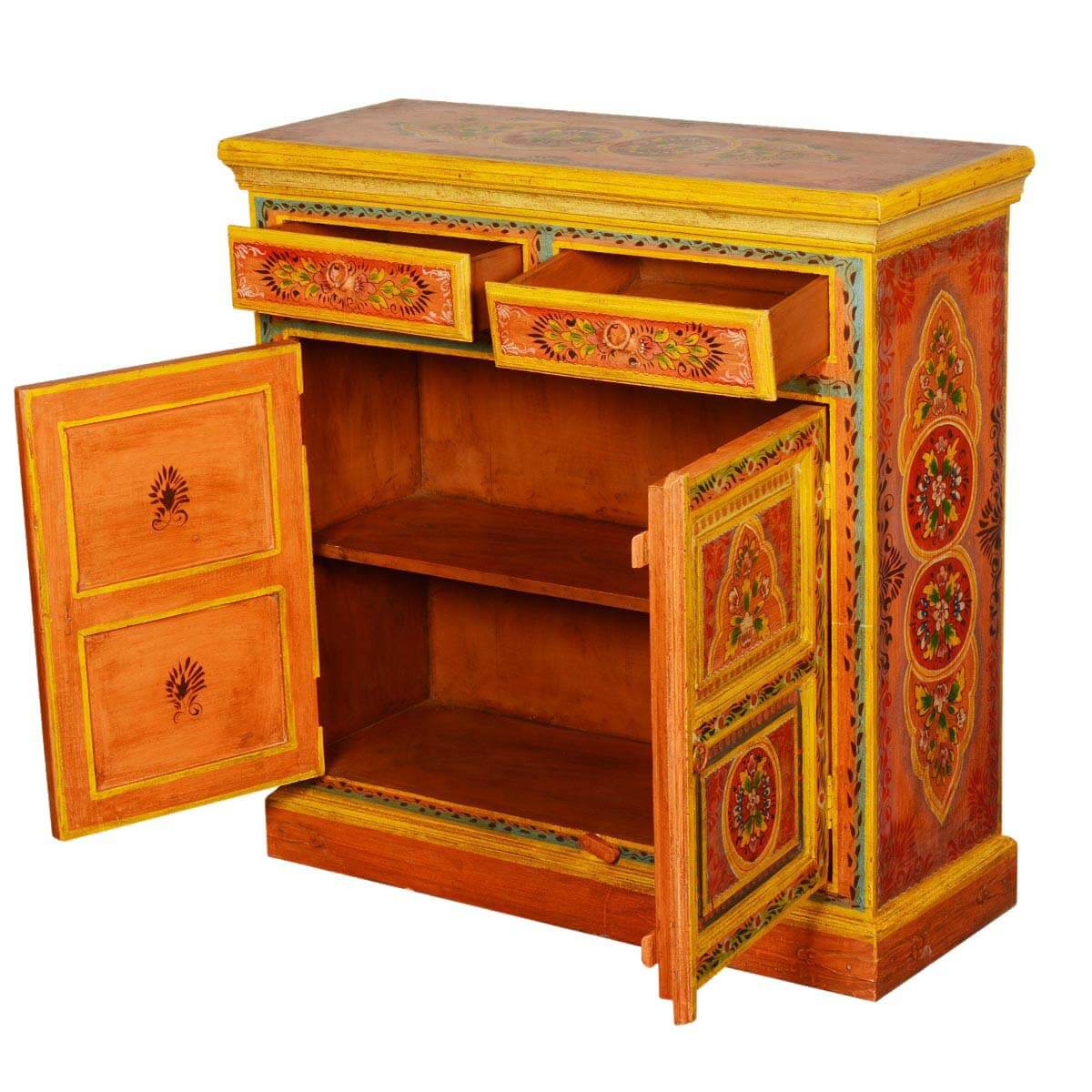 Collection Sun Garden Orange Hand Painted Mango Wood Buffet Cabinet. Full resolution‎  file, nominally Width 1200 Height 1200 pixels, file with #441403.