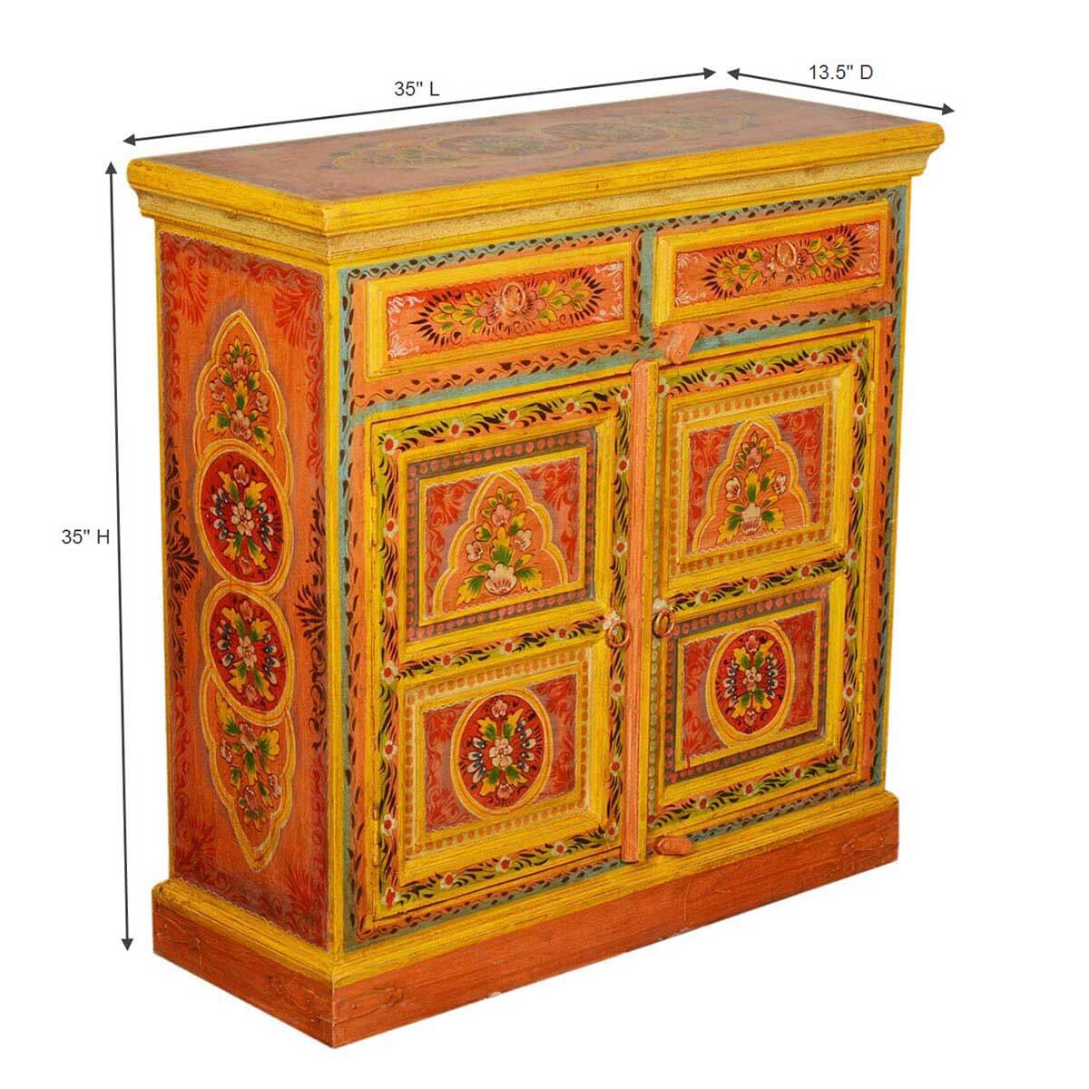 Collection Sun Garden Orange Hand Painted Mango Wood Buffet Cabinet. Full resolution‎  file, nominally Width 1200 Height 1200 pixels, file with #300B00.