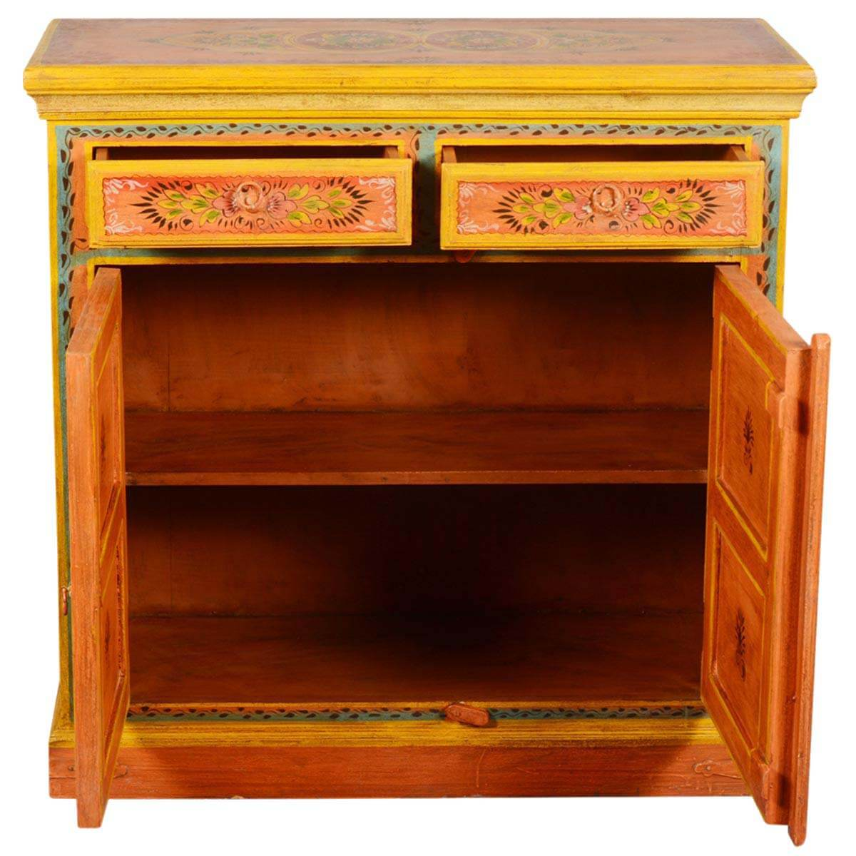 Painted Wooden Sideboard ~ Sun garden orange hand painted mango wood drawer storage