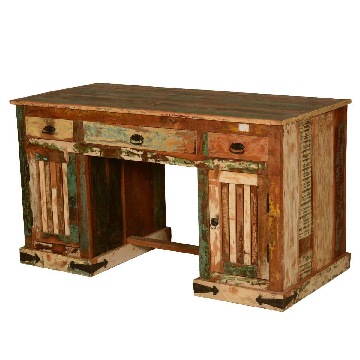 Gothic rustic double pedestal reclaimed wood office desk - Wood office desk ...