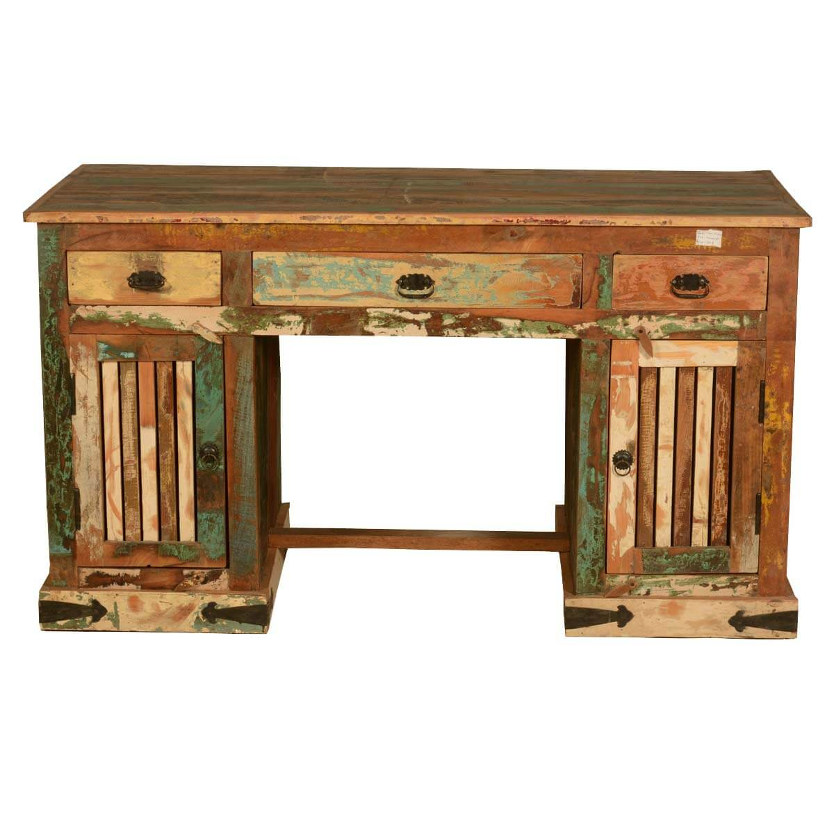 Reclaimed Wood Rustic Home Office: Gothic Rustic Double Pedestal Reclaimed Wood Office Desk