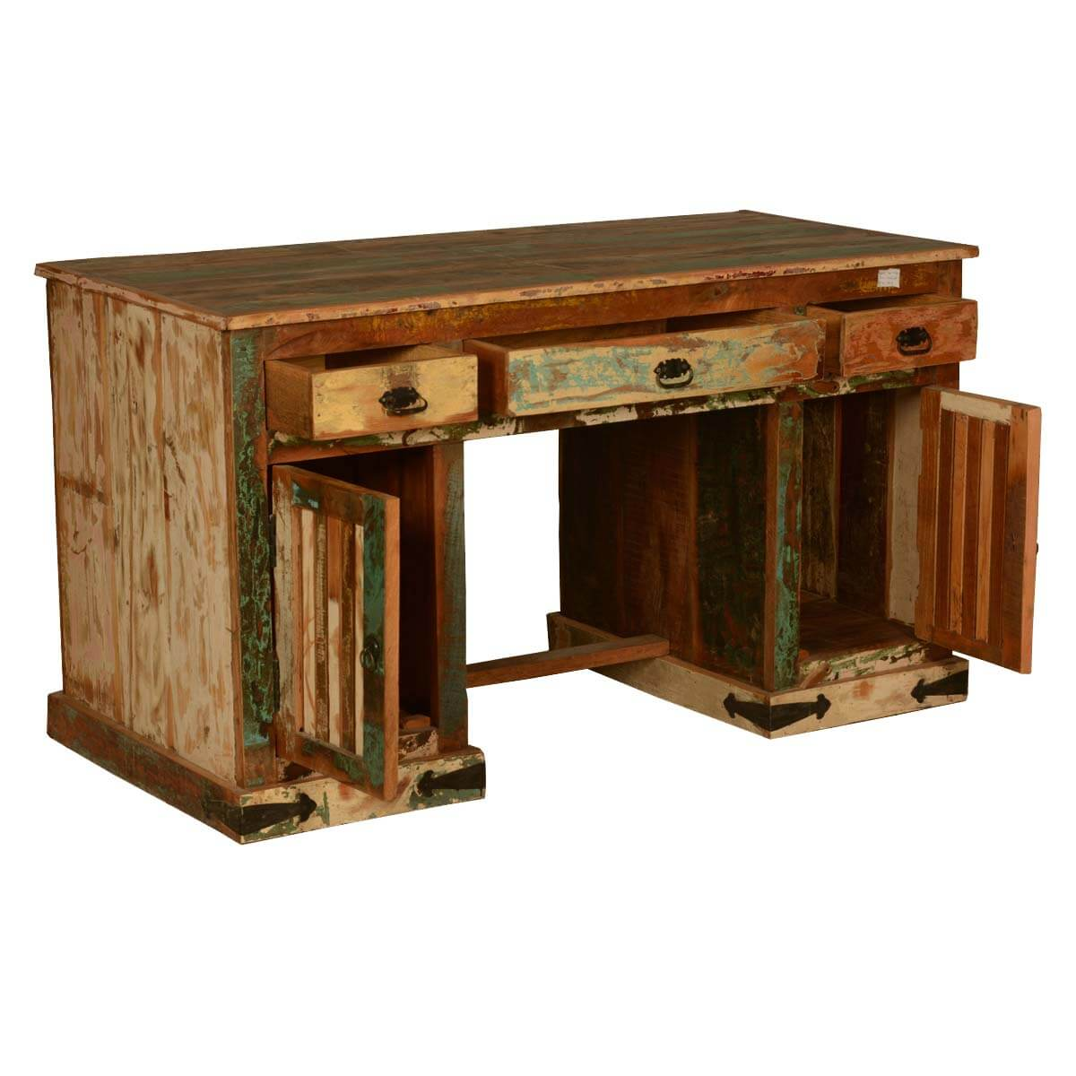 gothic rustic double pedestal reclaimed wood office desk