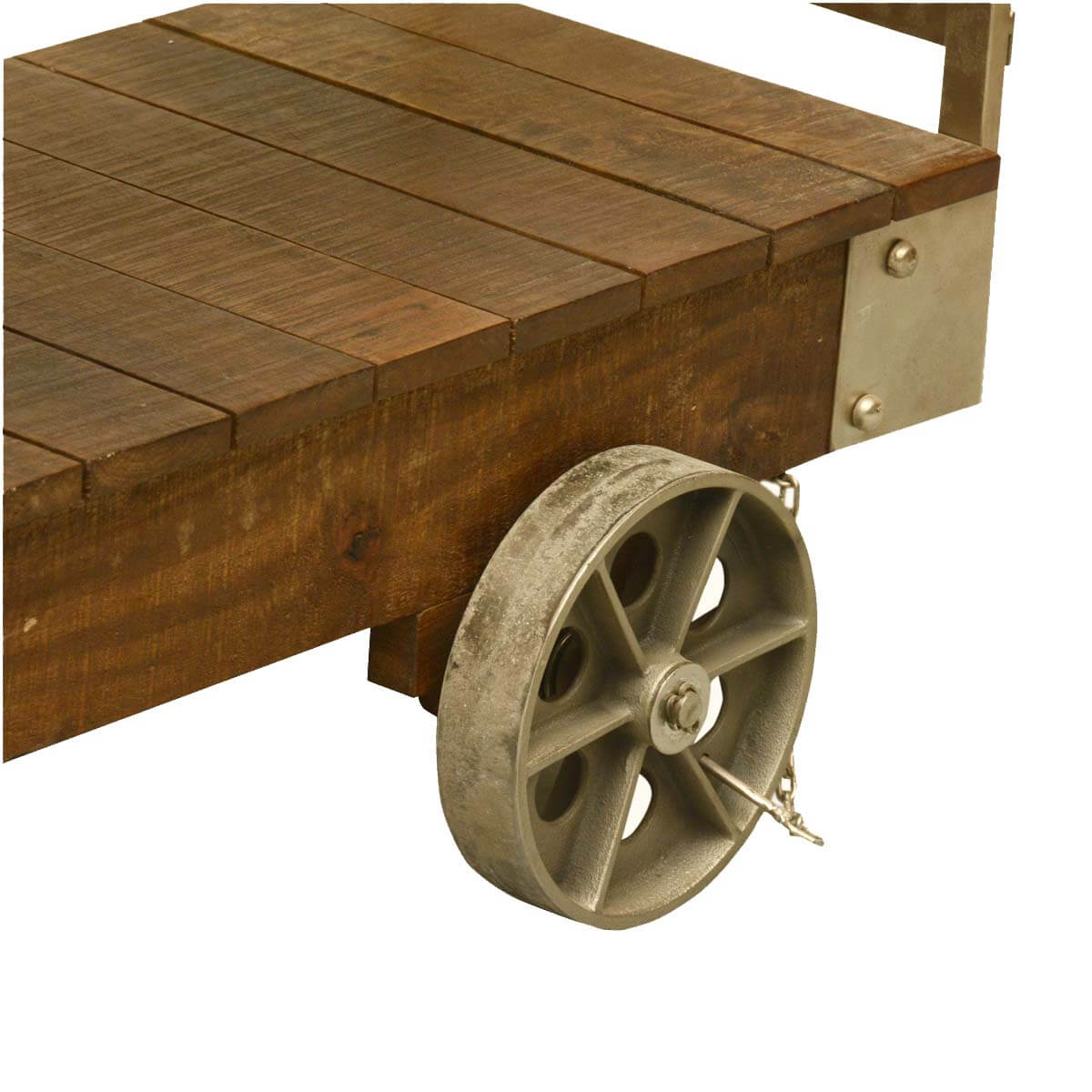 Industrial Rolling Reclaimed Wood & Iron 3 Tier Console