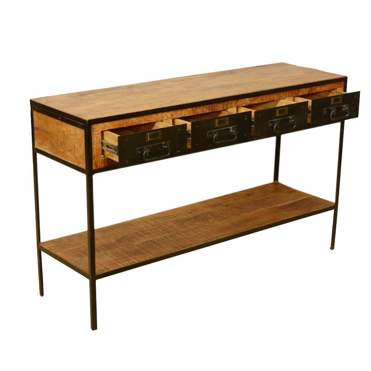 Foyer Console : Industrial iron drawer tier rustic entry way console