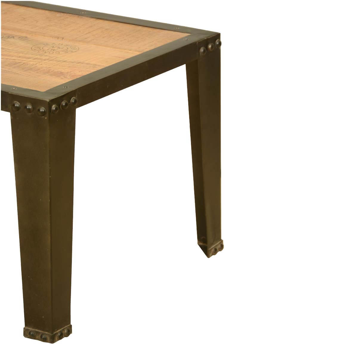 Rustic Wood And Metal Coffee Tables: Rustic Industrial Iron Metal Acacia Wood Cocktail Coffee Table
