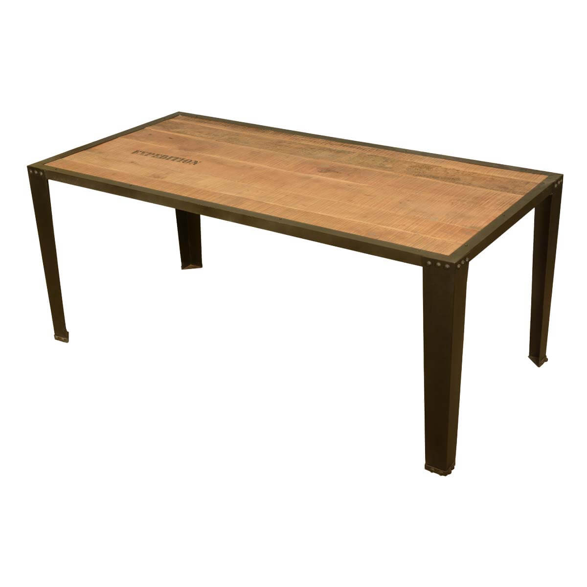 Rustic industrial iron and acacia wood rectangular dining for Rectangle dining table