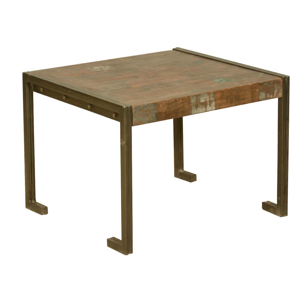 Industrial style old reclaimed wood metal frame rustic end for Rustic industrial end table