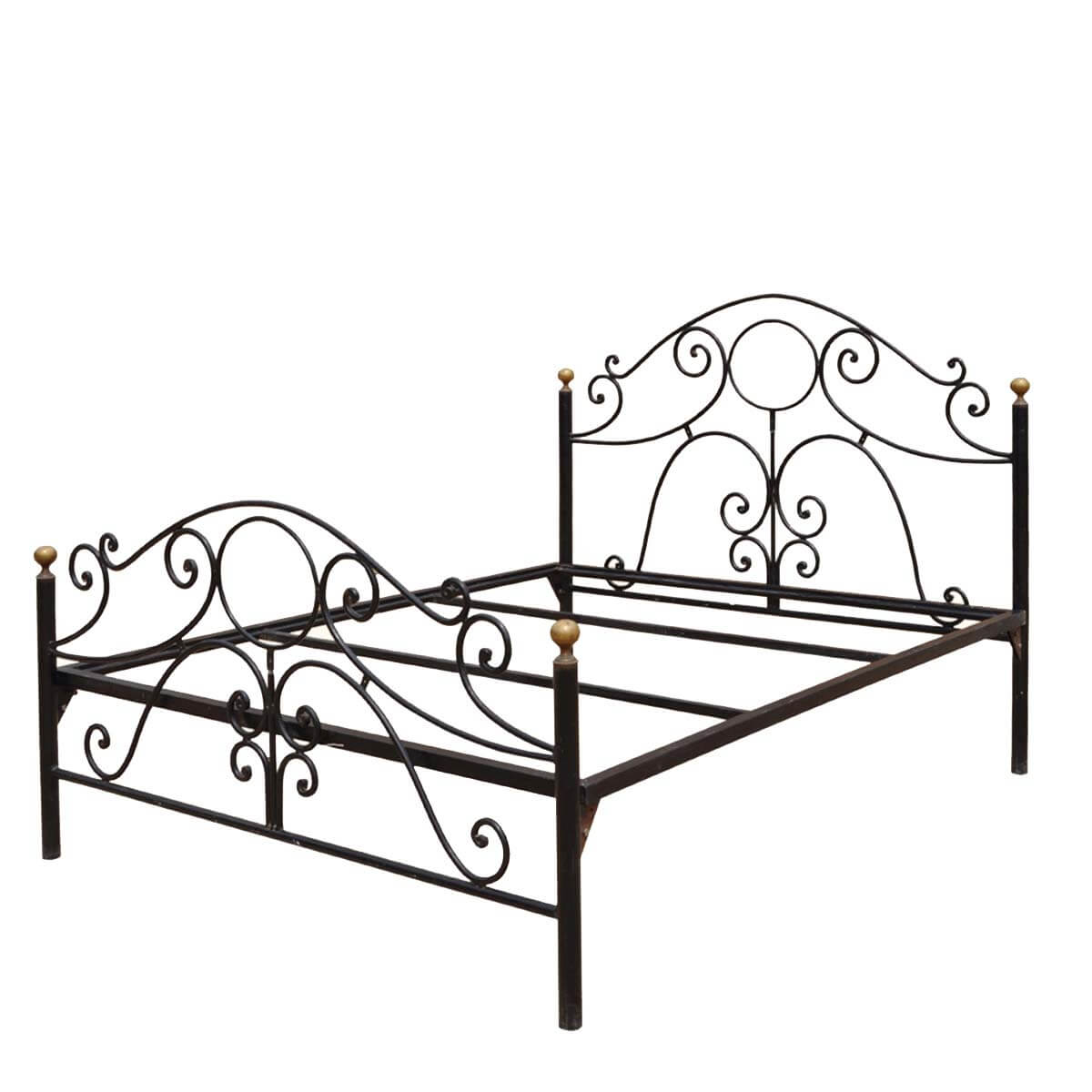 Parisian black wrought iron decorative bed w headboard Decorative headboards for beds