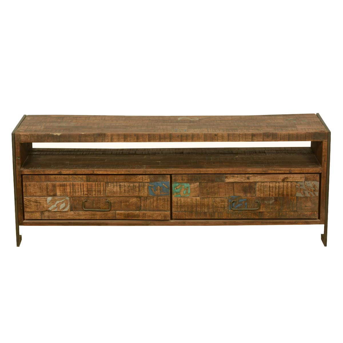 Macon Reclaimed Wood 2 Drawer Industrial Rustic Media