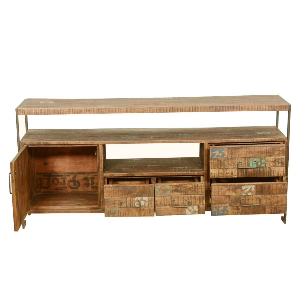 Retro industrial reclaimed wood iron rustic media Rustic tv stands