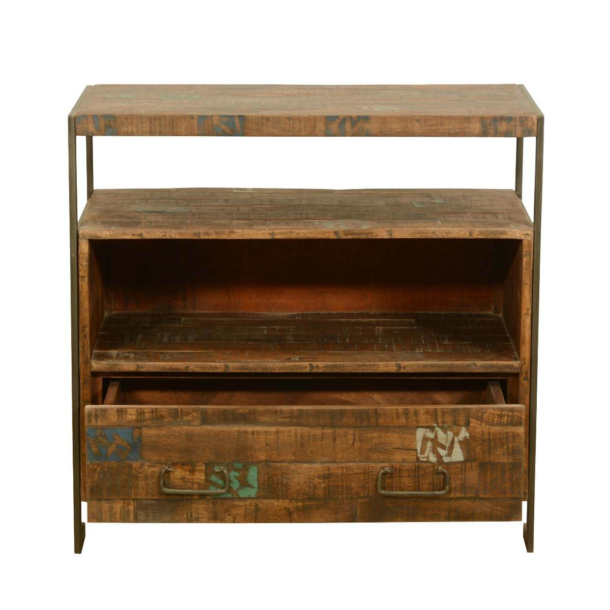 Drakensberg Reclaimed Wood Iron Rustic Media Console Tv