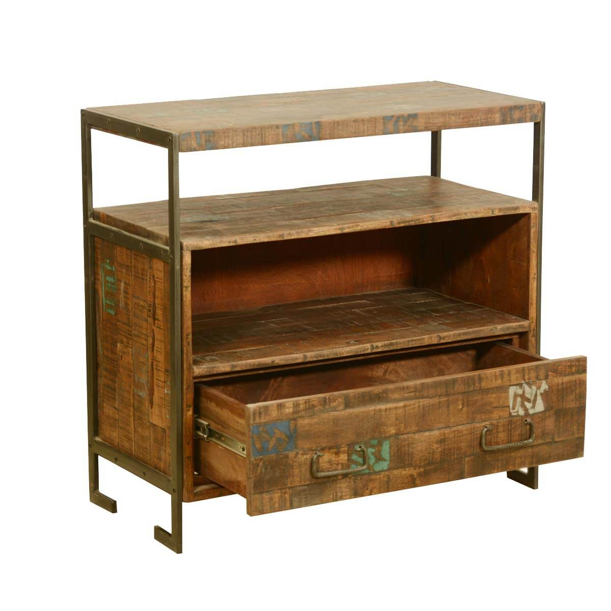 drakensberg reclaimed wood iron rustic media console tv stand. Black Bedroom Furniture Sets. Home Design Ideas