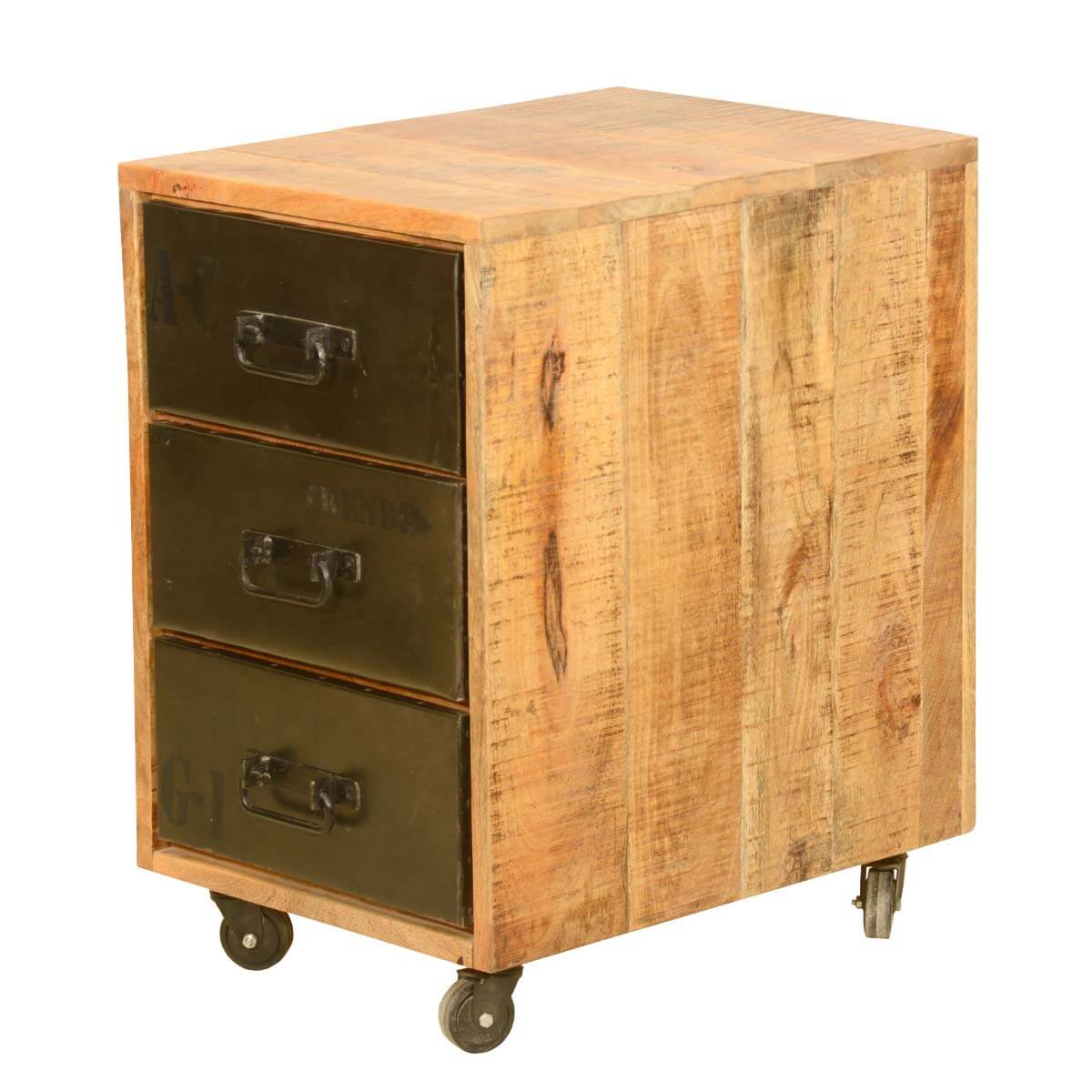 Rustic industrial style solid wood trolley end table with for Rustic industrial end table