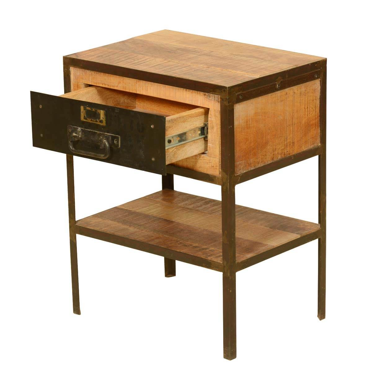 Rustic industrial fusion solid wood iron 2 tier end table for Rustic industrial end table