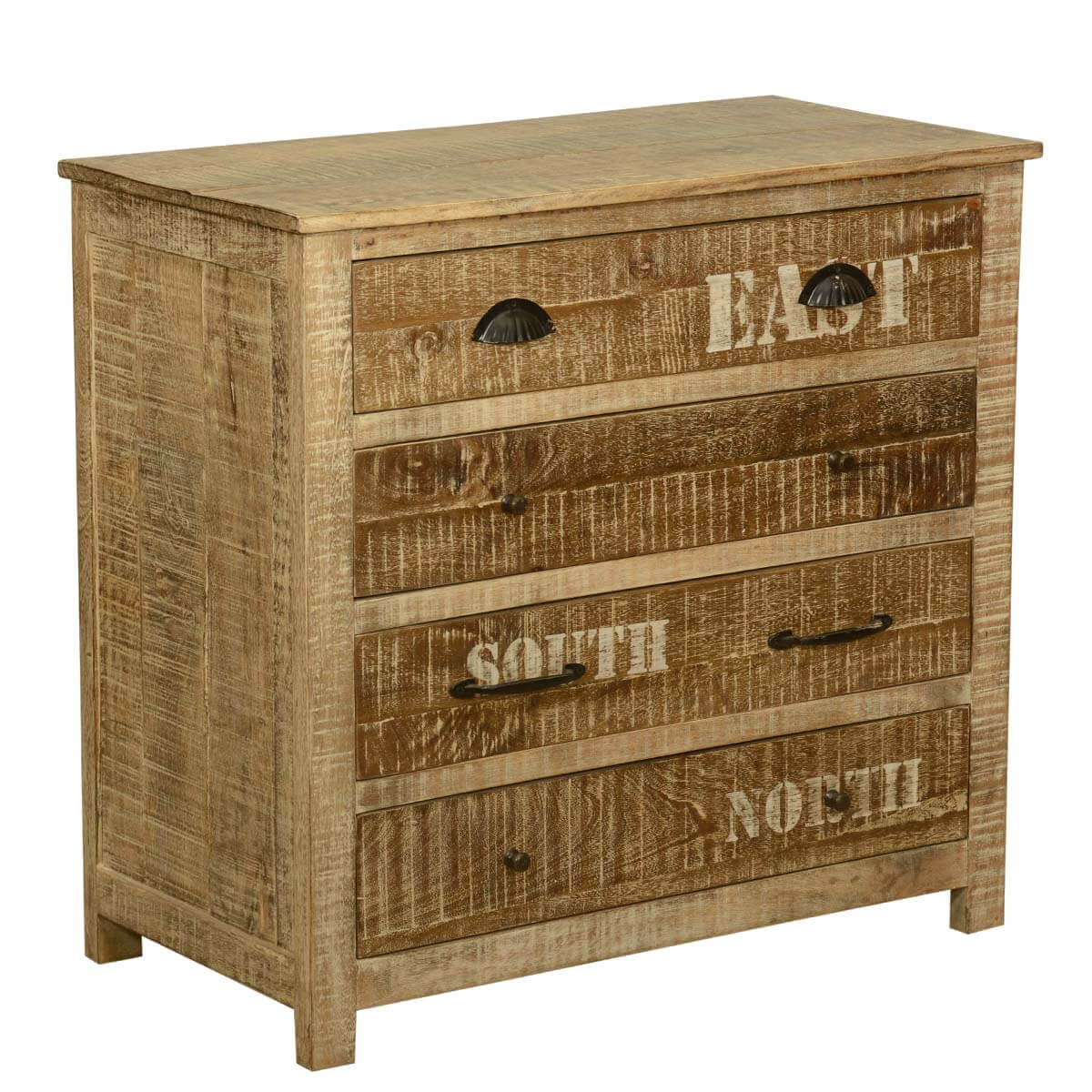 Rustic Mango Wood Dresser 4 Drawer Bedroom Vanity