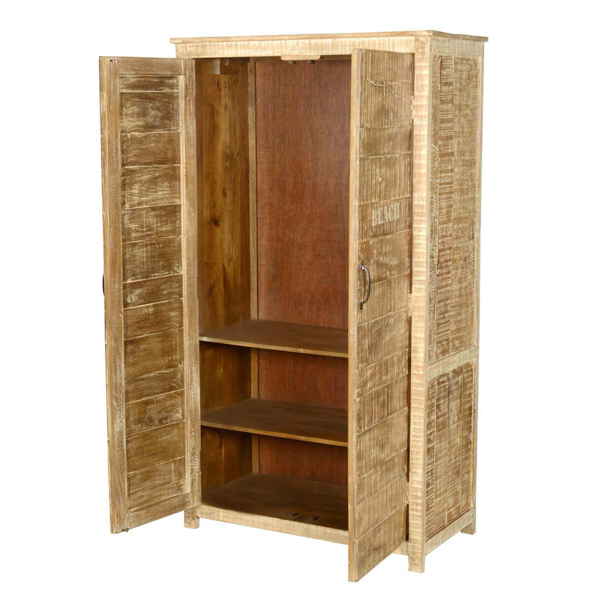 New orleans rustic distressed solid wood bedroom armoire