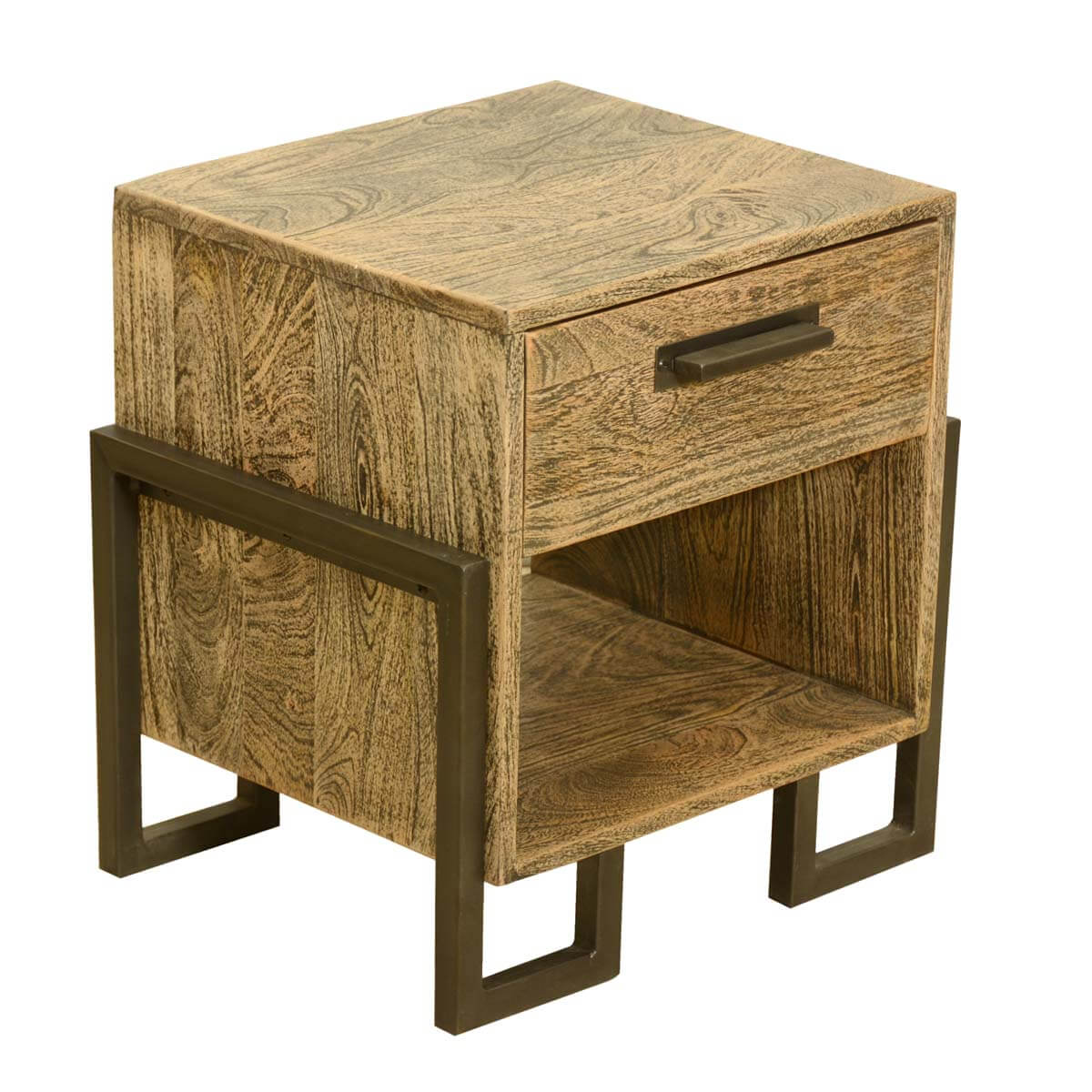 Industrial style rustic solid wood iron bedside end for Rustic industrial end table
