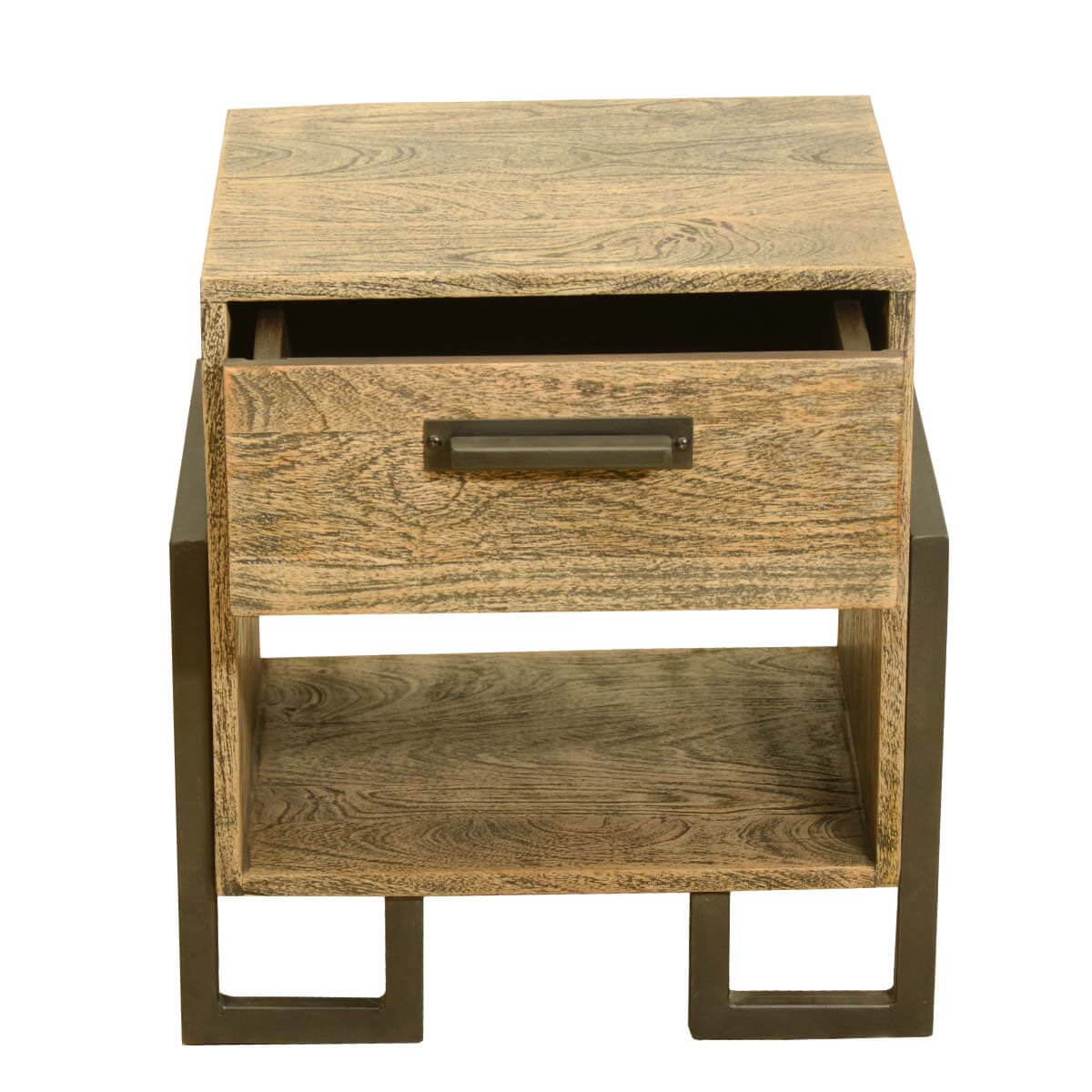 Industrial Style Solid Wood Square Storage Trunk 5 Drawer: Industrial Style Rustic Solid Wood & Iron Bedside End
