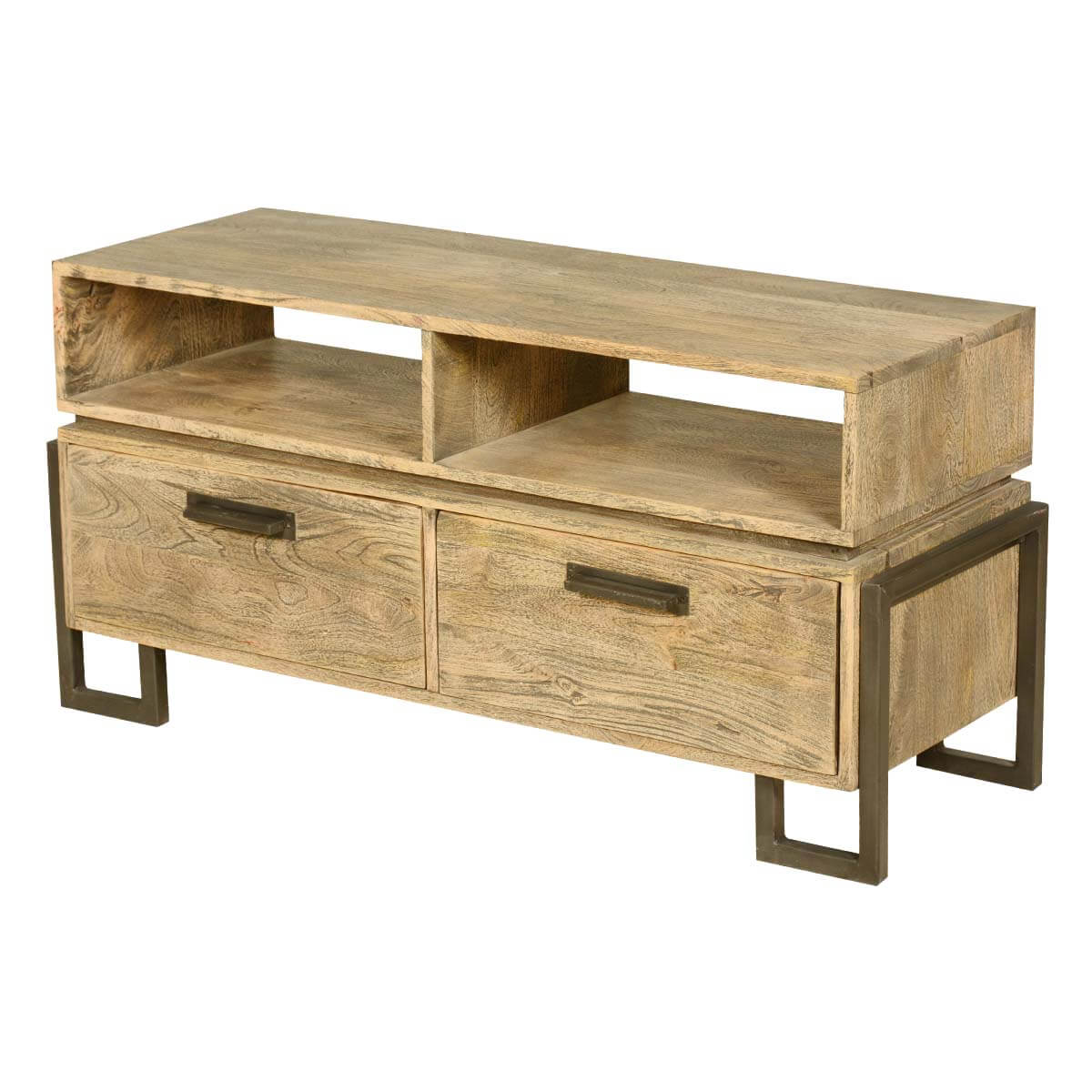 Wood Media Console Furniture ~ Modern rustic industrial fusion solid wood media console