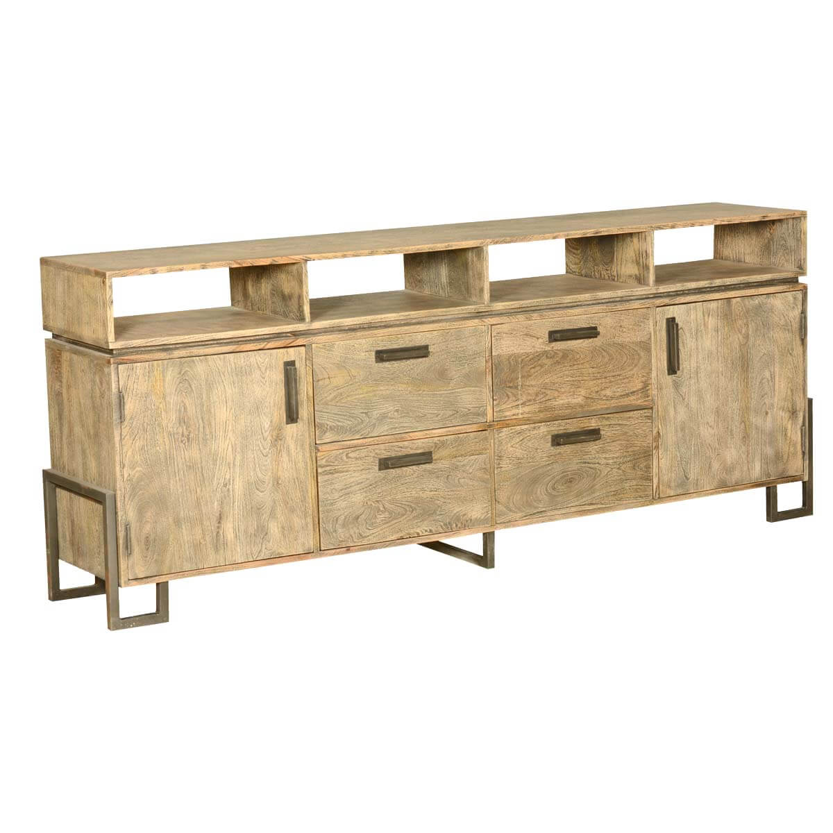 industrial fusion modern rustic solid wood storage buffet. Black Bedroom Furniture Sets. Home Design Ideas