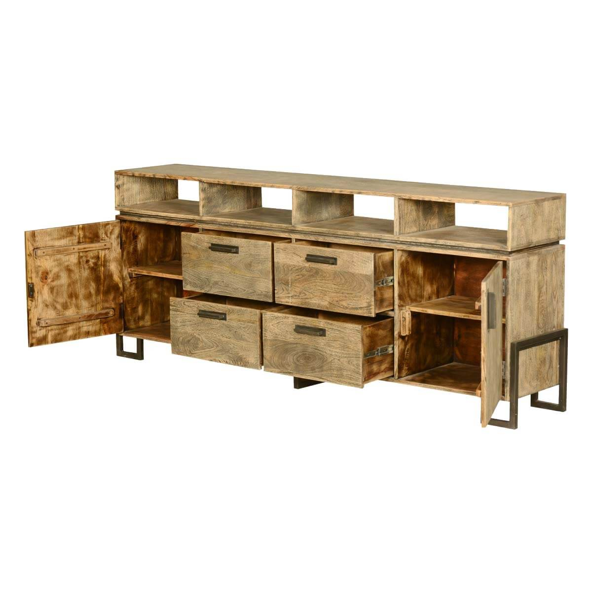 Industrial fusion modern rustic solid wood storage buffet for Rustic industrial