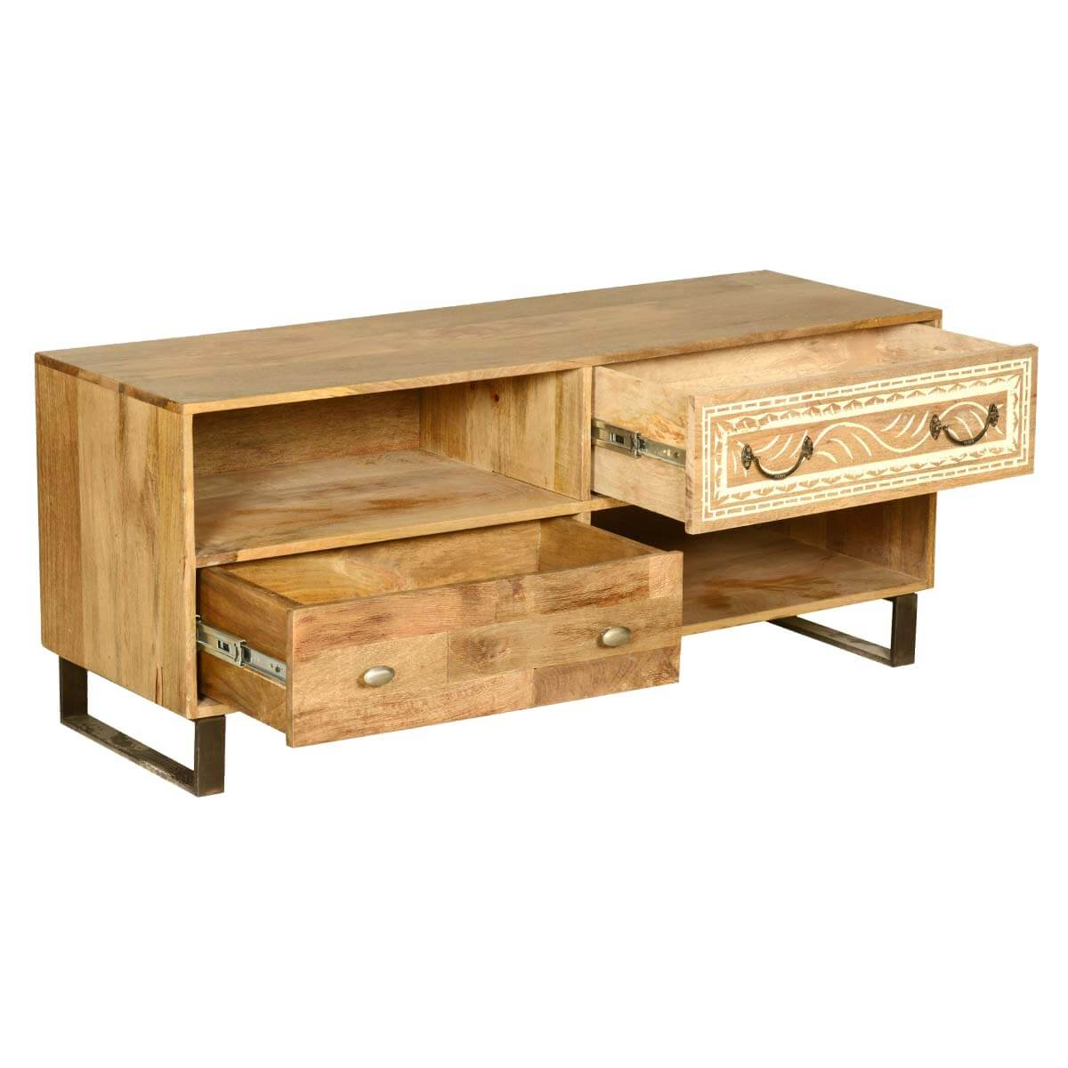 Wood Entertainment Stand ~ Modern rustic solid wood entertainment center tv stand w