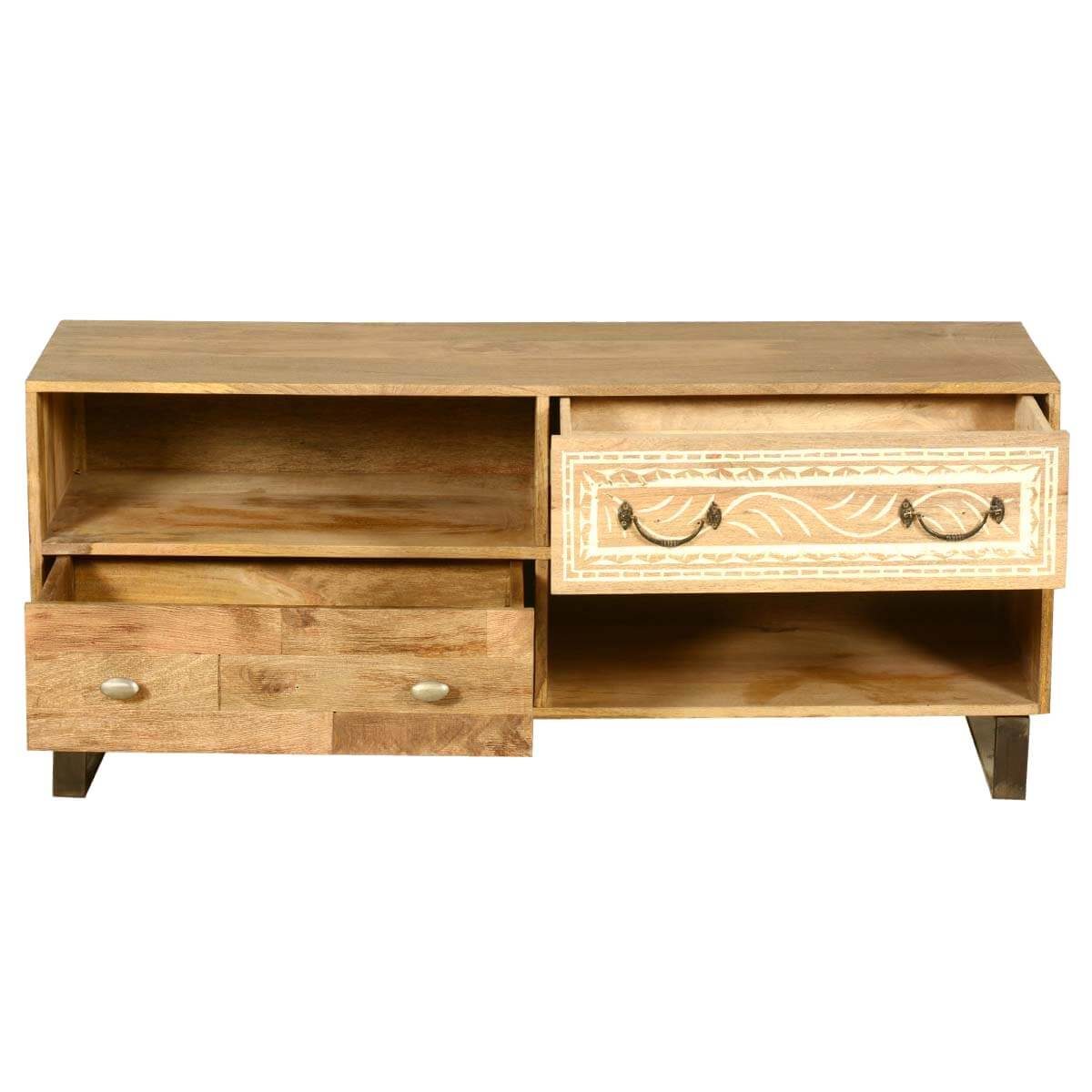 Modern Rustic Solid Wood Entertainment Center Tv Stand W 2