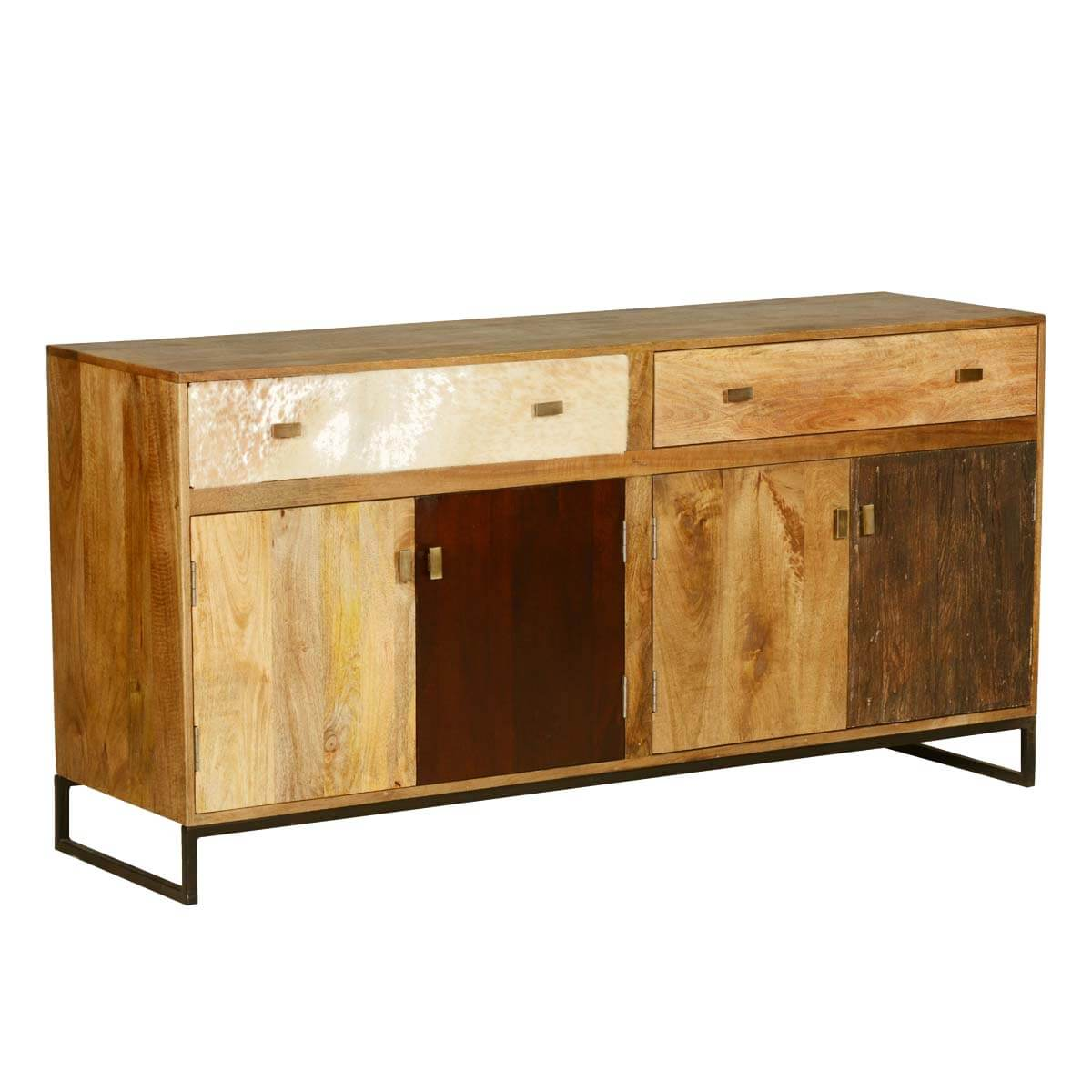 60 S Retro Rustic Mango Wood 2 Drawer Double Sideboard Cabinet