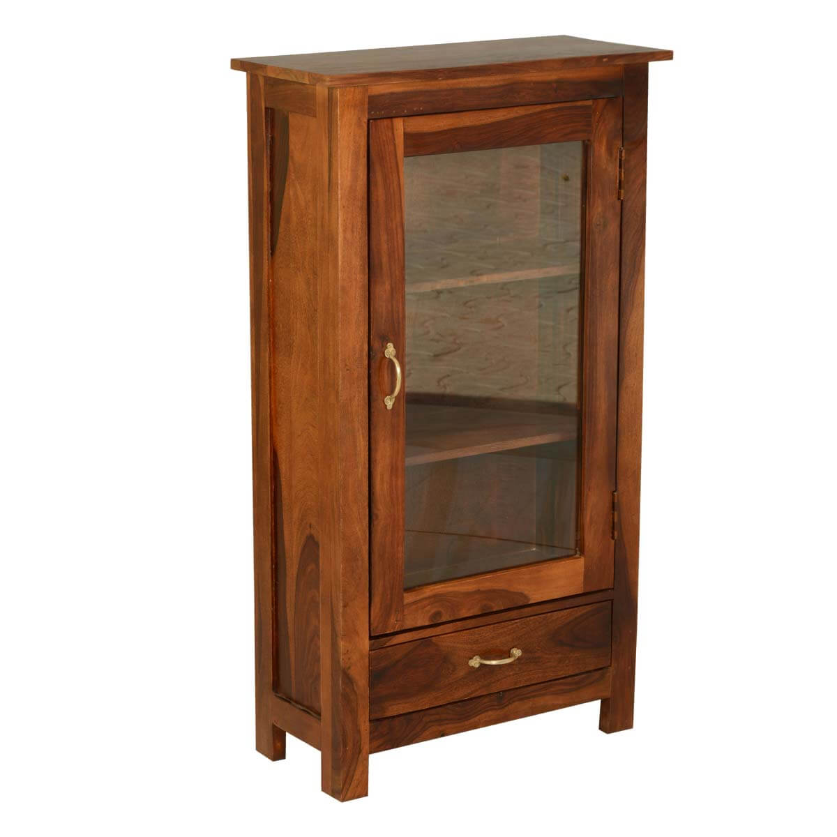 Pinellas solid wood single glass door 1 drawer curio cabinet for Solid wood door with glass