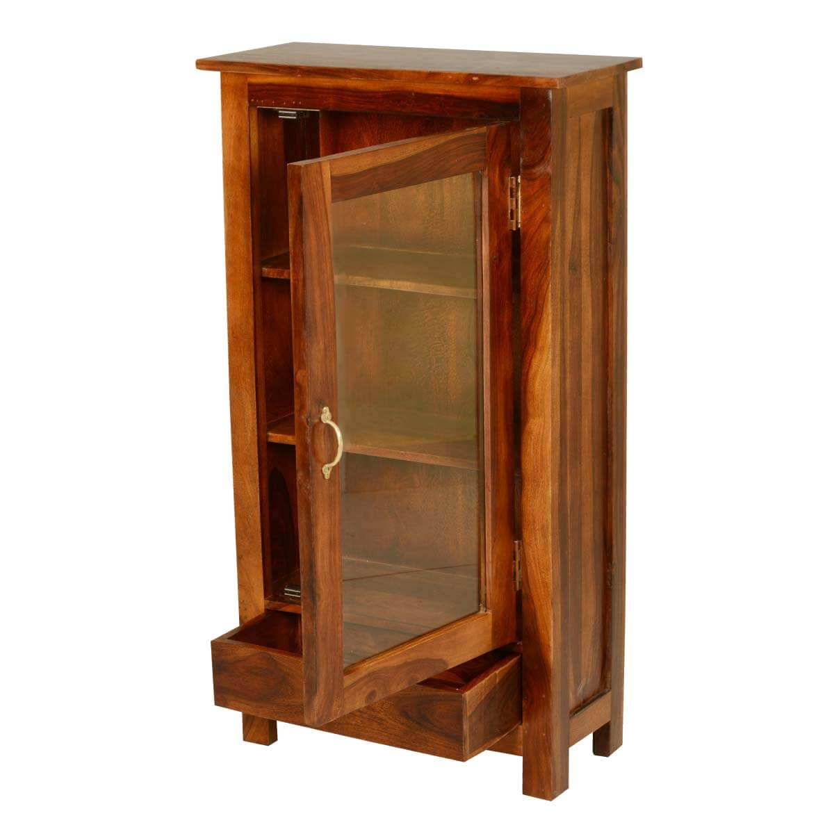 Farm House Solid Wood Glass Door Curio Cabinet W Drawer