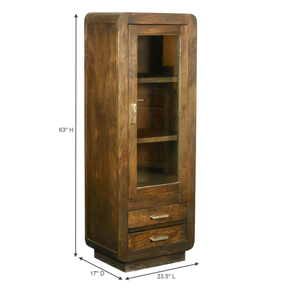 Rounded Corners Mango Wood Armoire Display Cabinet W Drawers