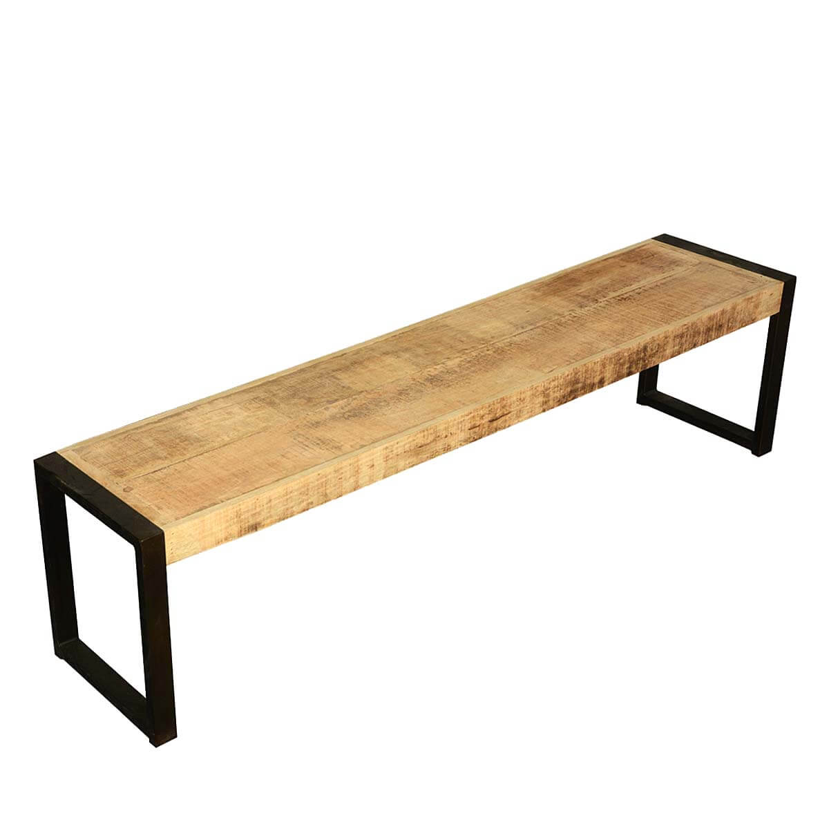 Modern Rustic Industrial Fusion 71 Solid Wood Dining Bench