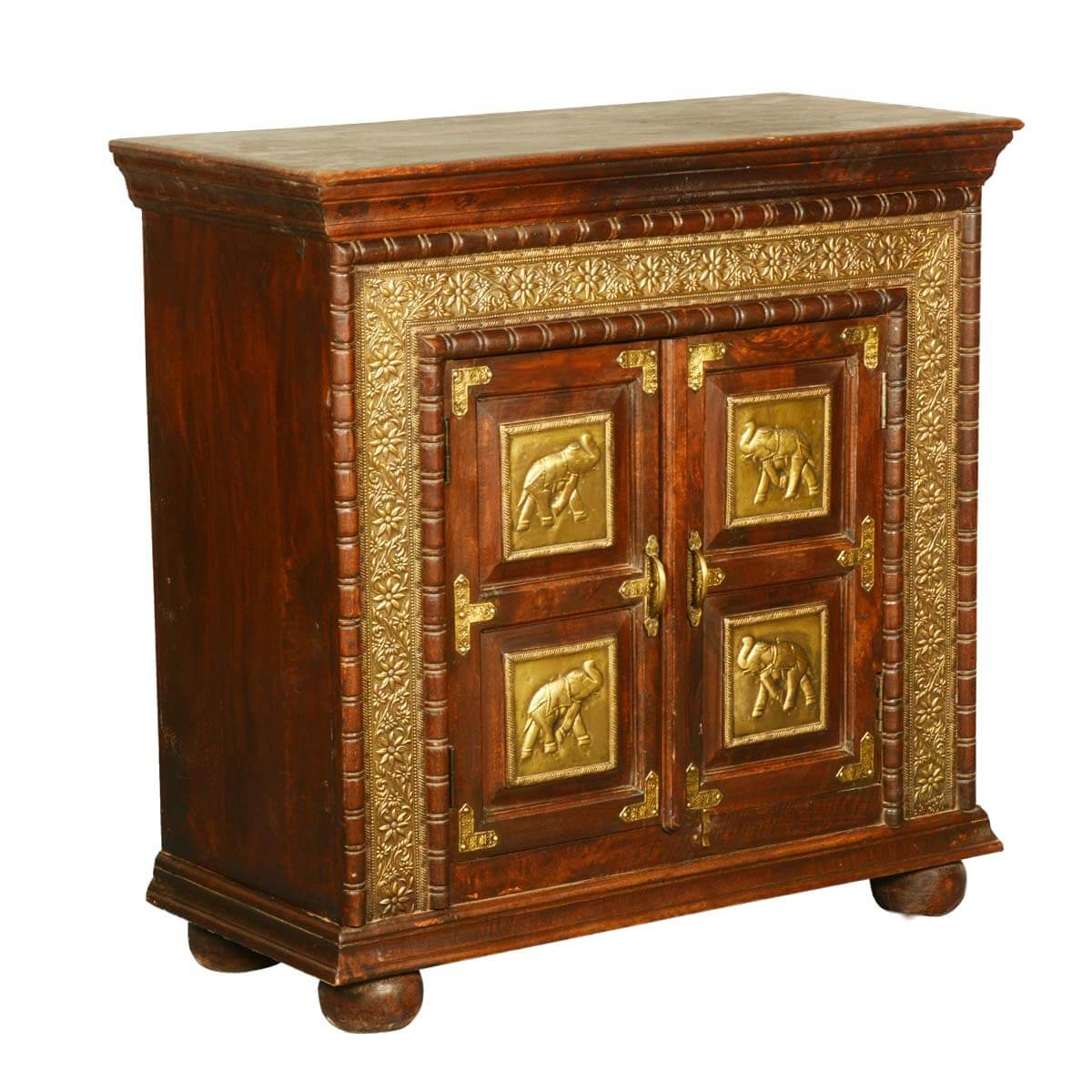 Classic solid wood brass accent storage cabinet small for Short storage cabinet