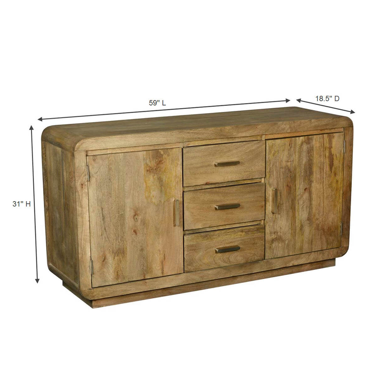 Collection Rounded Corners Mango Wood Buffet Cabinet With Drawers. Full resolution‎  file, nominally Width 1200 Height 1200 pixels, file with #B28C19.