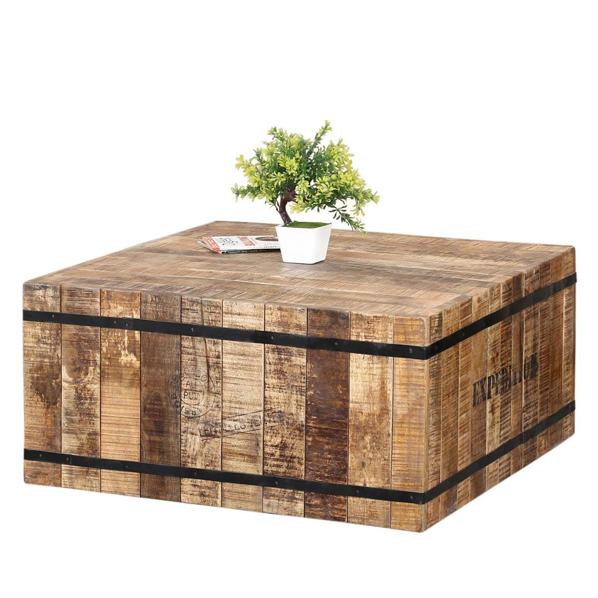 Expedition Rustic Acacia Wood Iron Square Box Style Coffee Table
