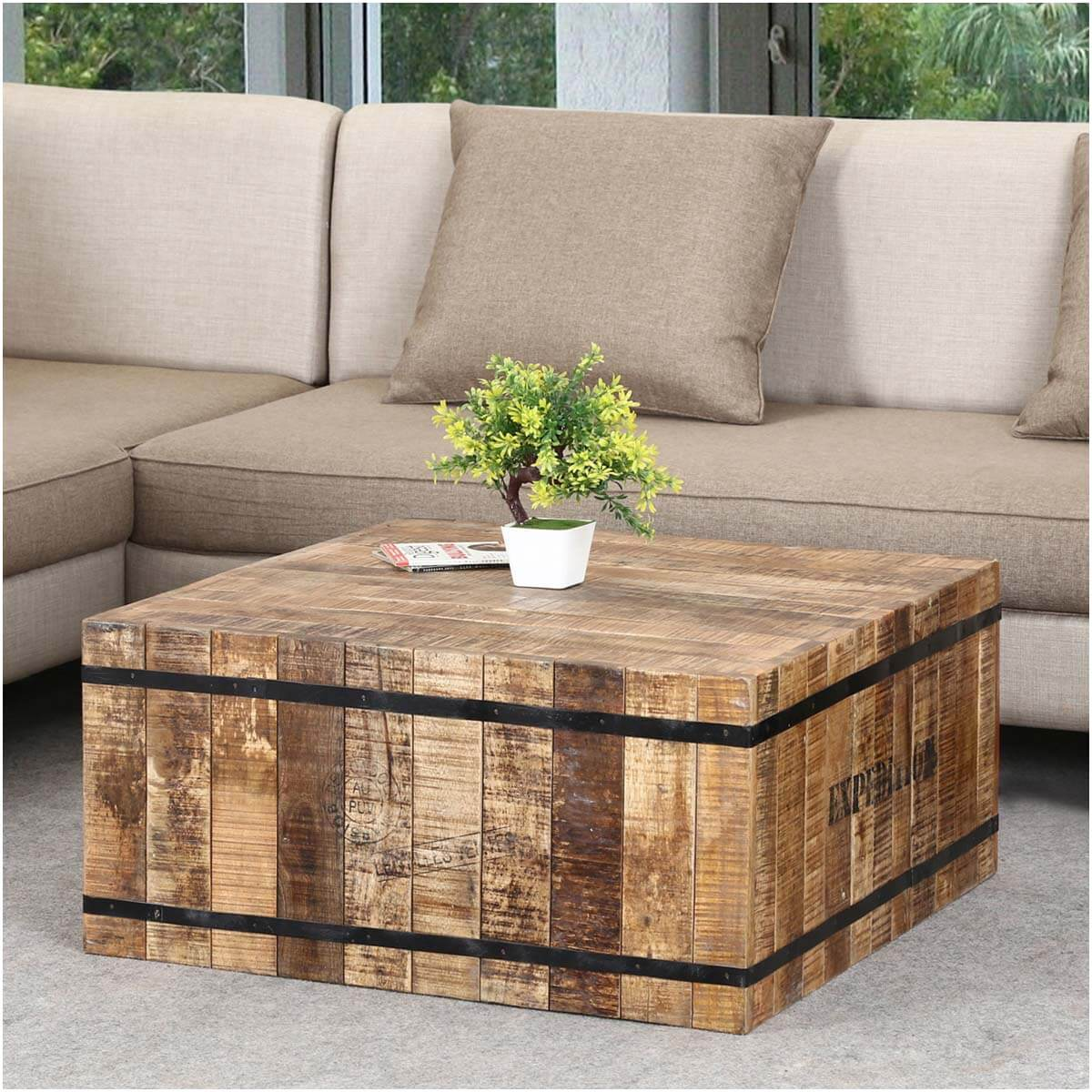 Expedition rustic mango wood iron square box style coffee table Rustic iron coffee table