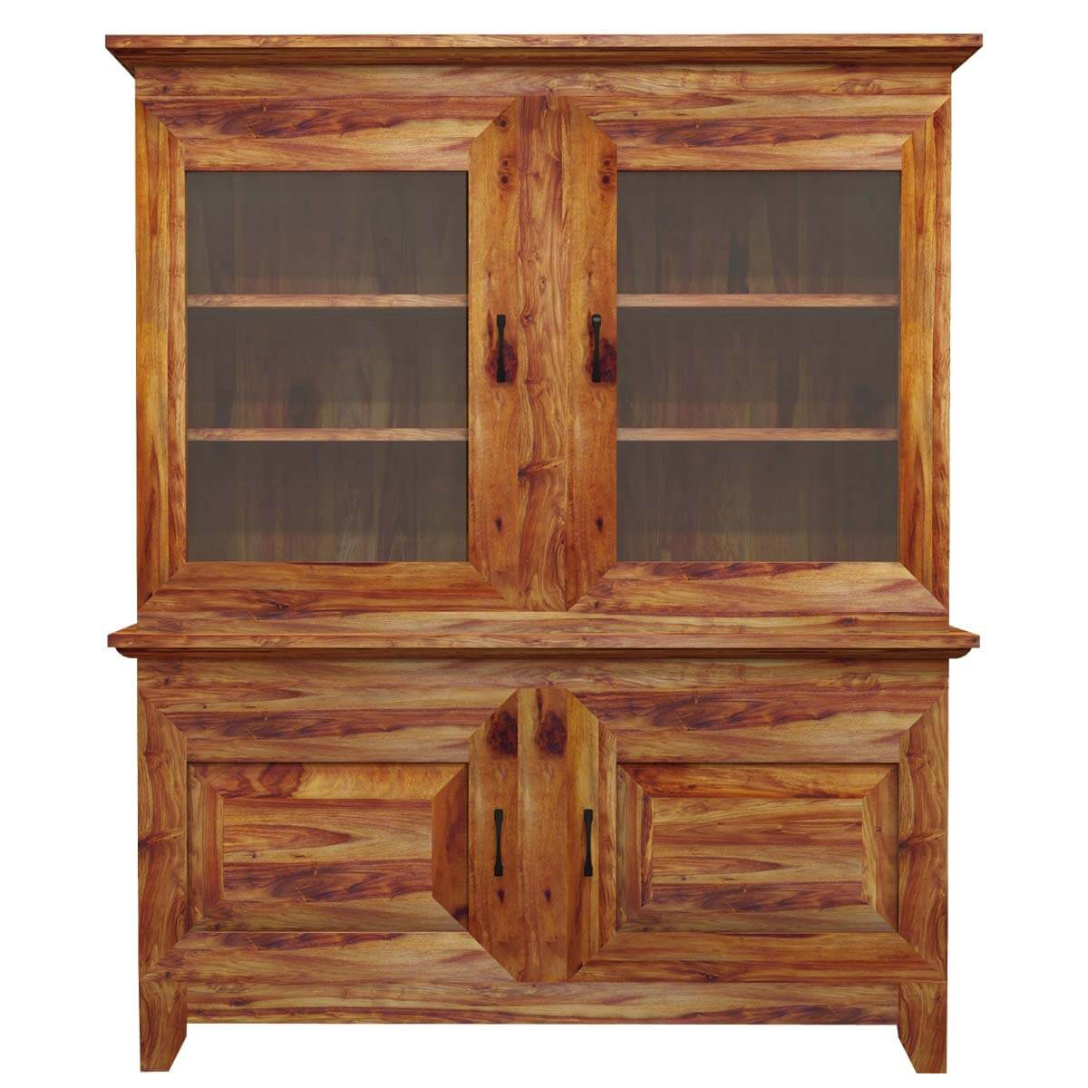 Sierra nevada traditional glass door solid wood hutch for Solid wood door with glass