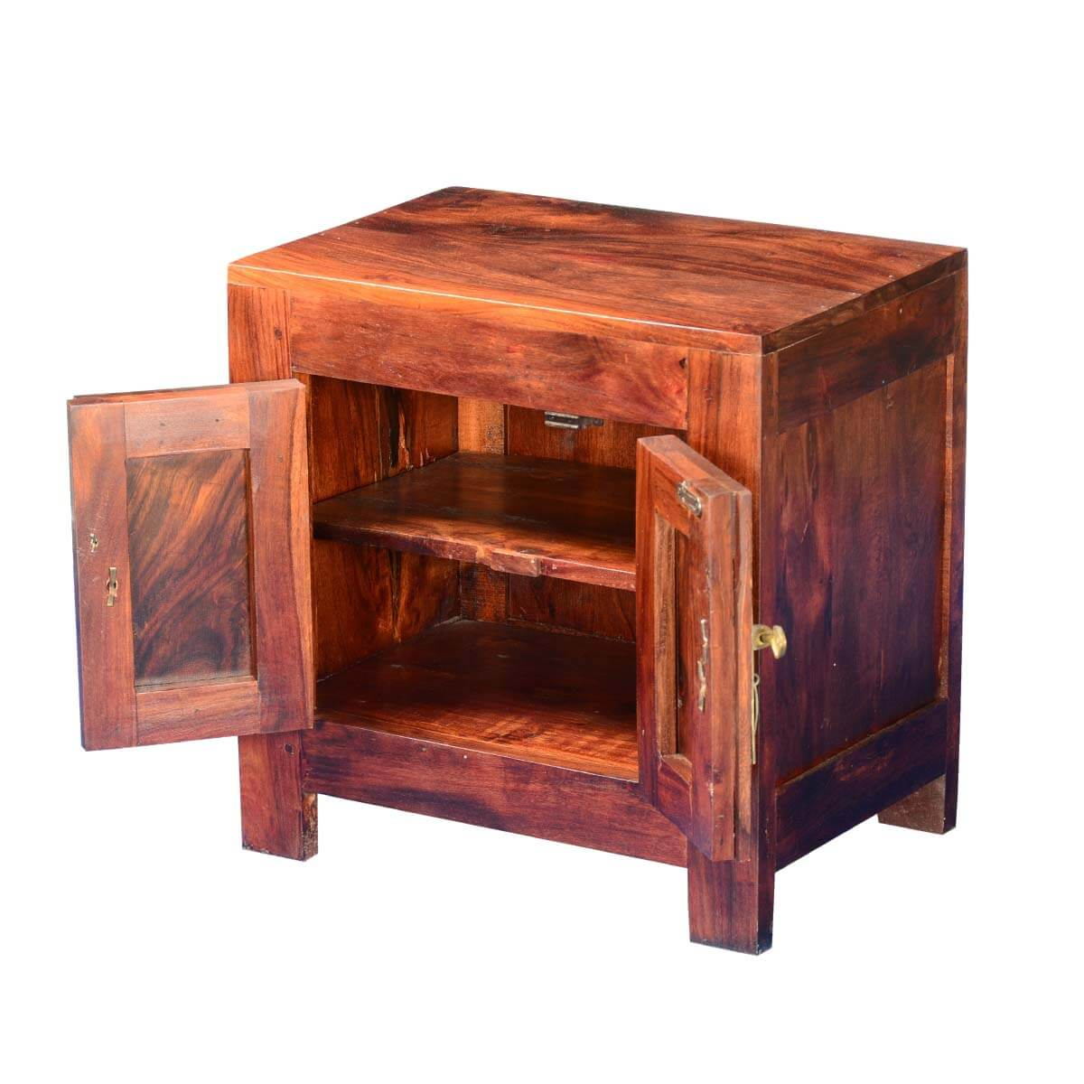 strawberry moon solid wood acacia end table cabinet. Black Bedroom Furniture Sets. Home Design Ideas