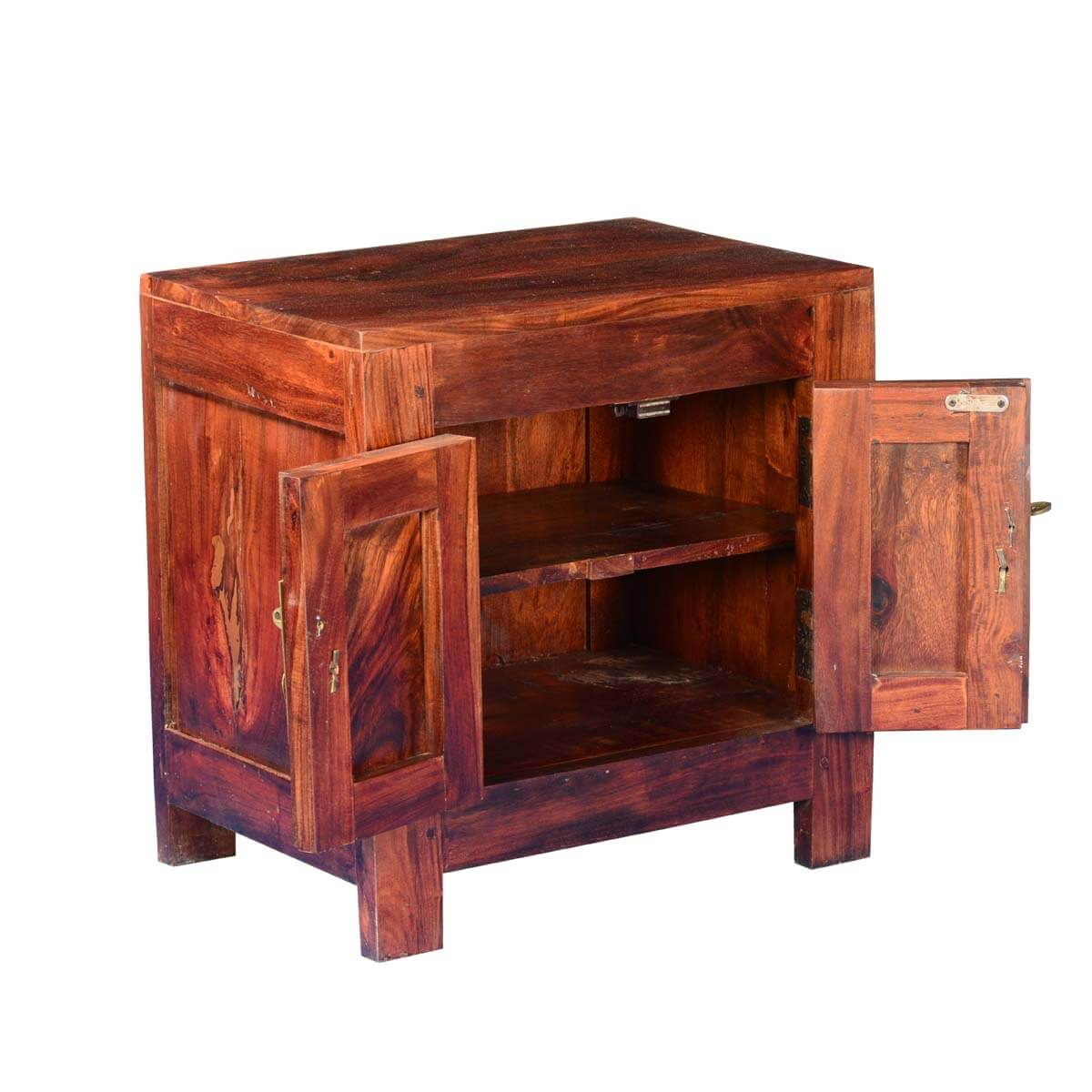 Solid Wood Coffee Tables With Storage Cabinets For Sale: Strawberry Moon Solid Wood & Acacia End Table Cabinet