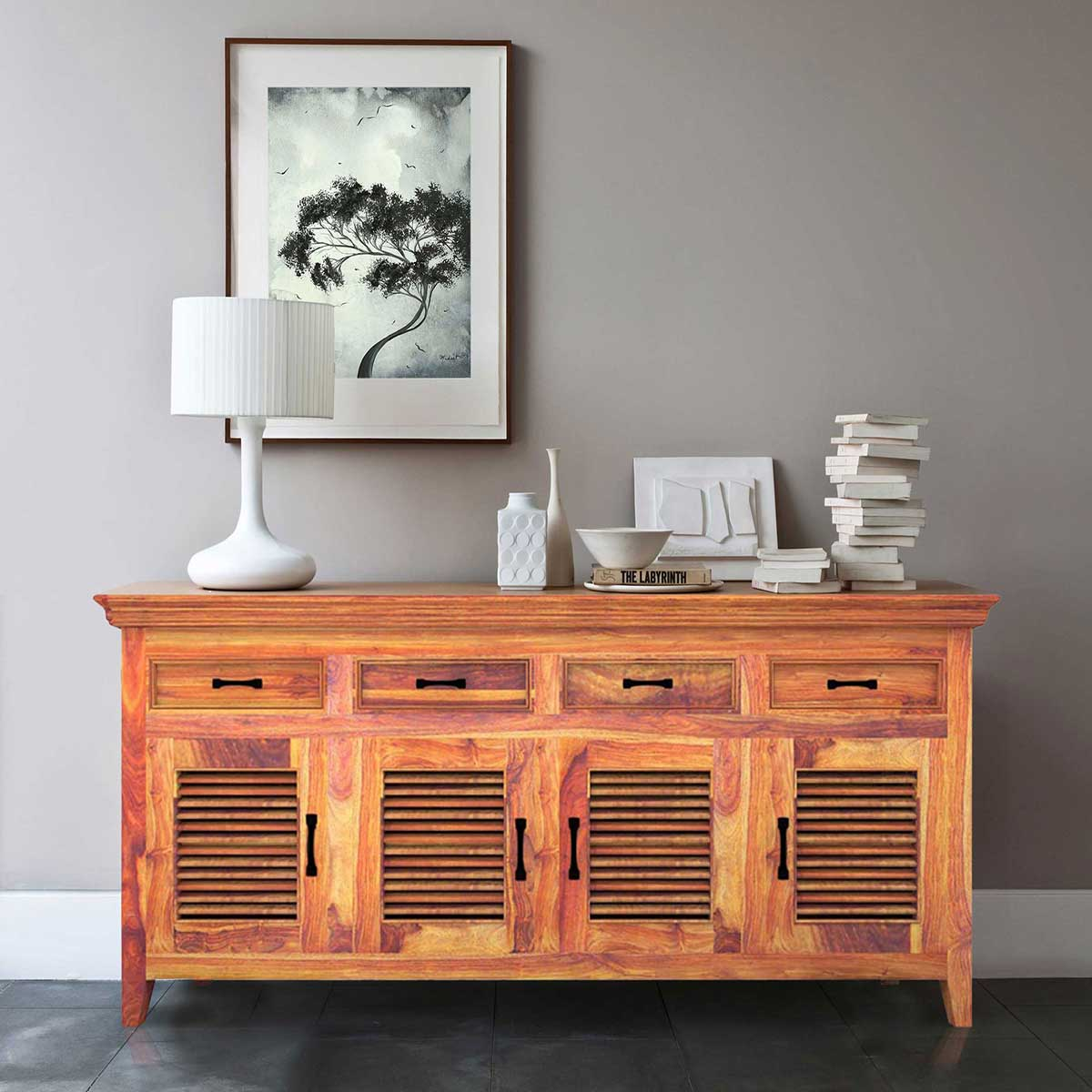 Modern Rustic Solid Wood Shutter Doors Sideboard Buffet With 4 Drawers. Full resolution  picture, nominally Width 1200 Height 1200 pixels, picture with #B28C19.