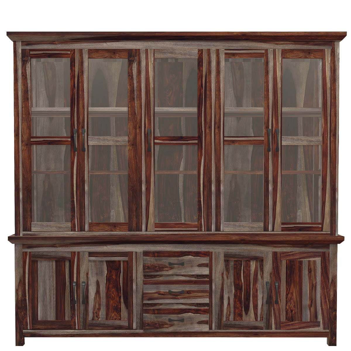 Dallas Ranch Solid Wood Rustic Dining Table Chairs Hutch Set: Dallas Ranch Rustic Solid Wood Glass Door Dining China Hutch