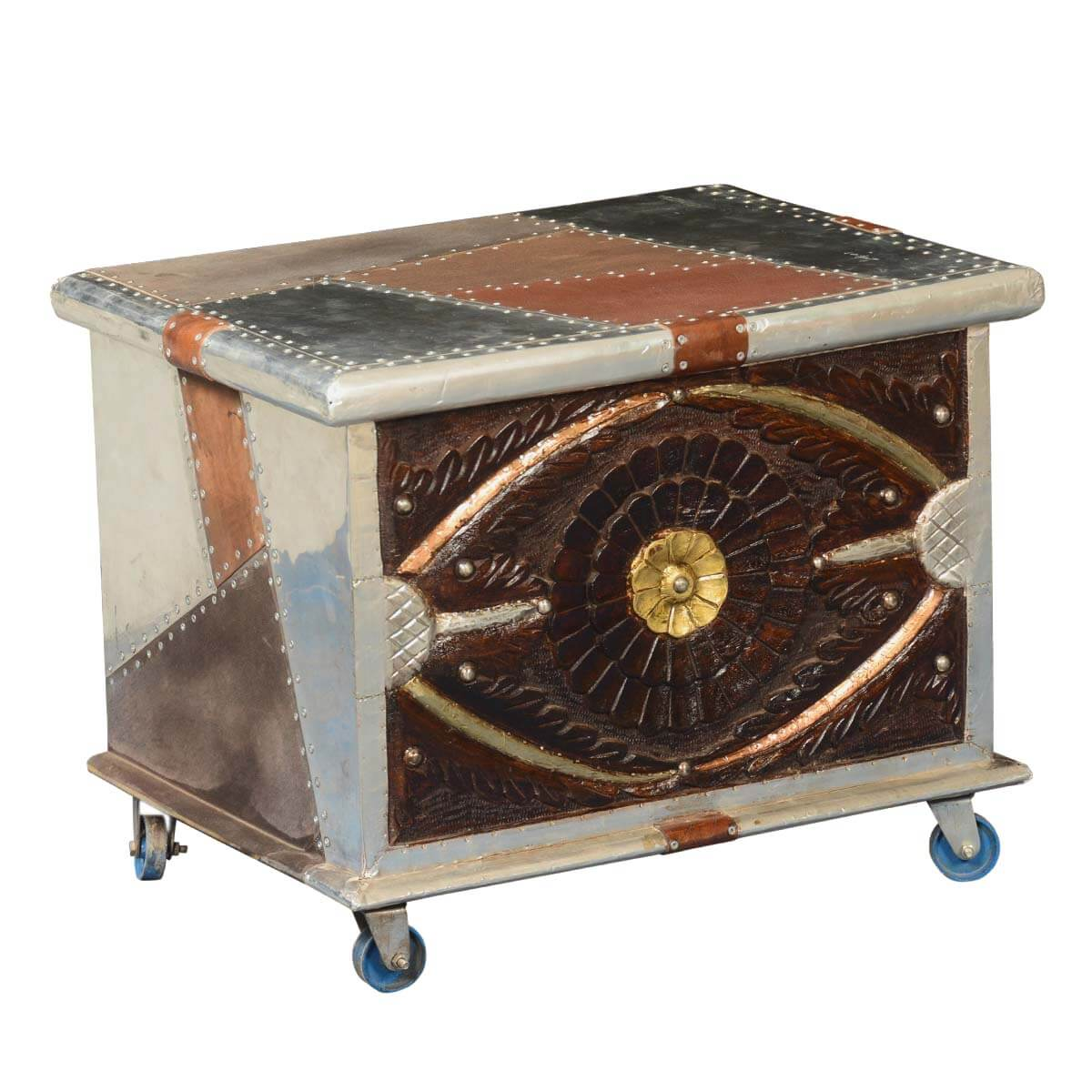 Rolling Coffee Table With Storage: Metallic Patches Mango Wood Modern Rolling Coffee Table Chest