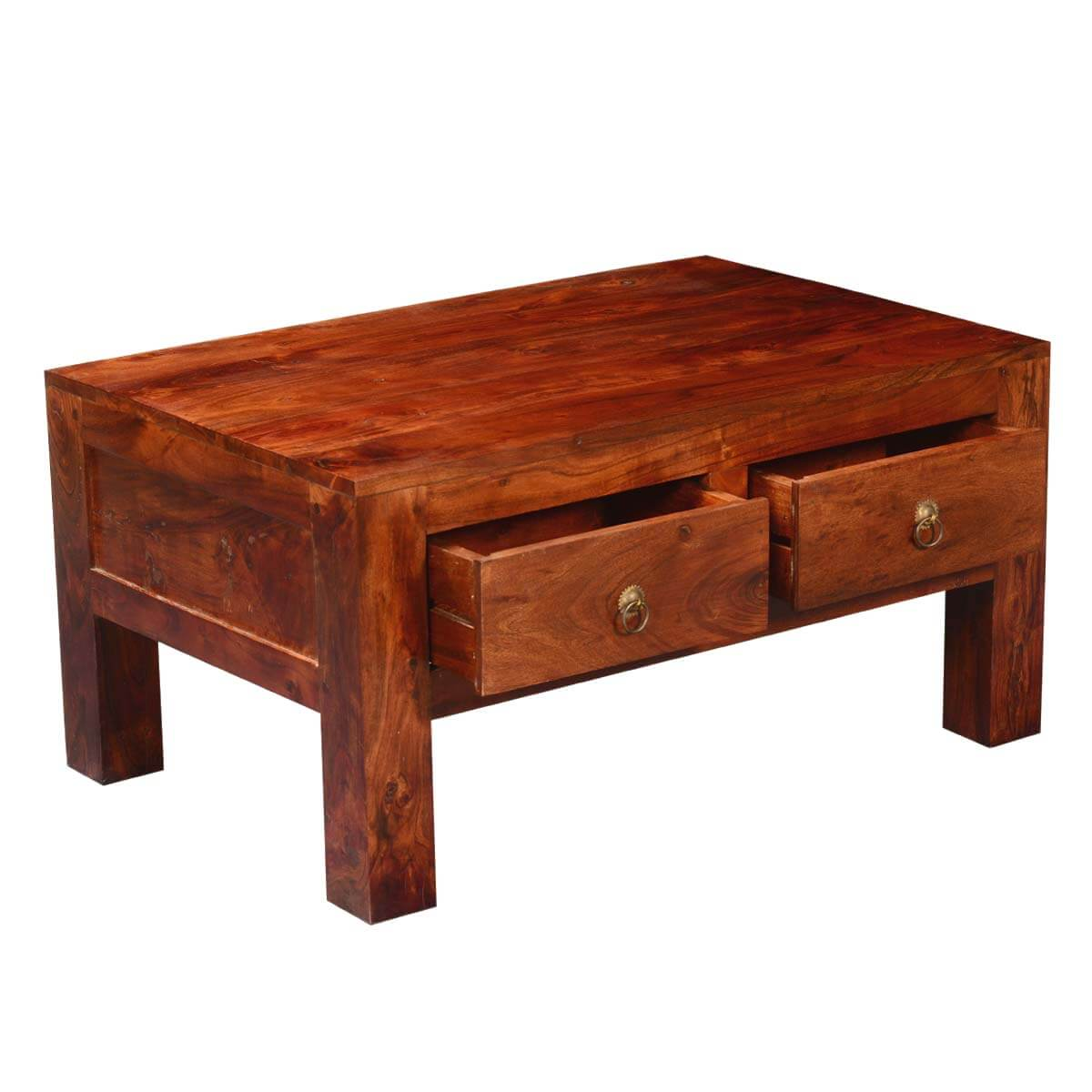 Modern simplicity acacia wood drawer chest coffee table