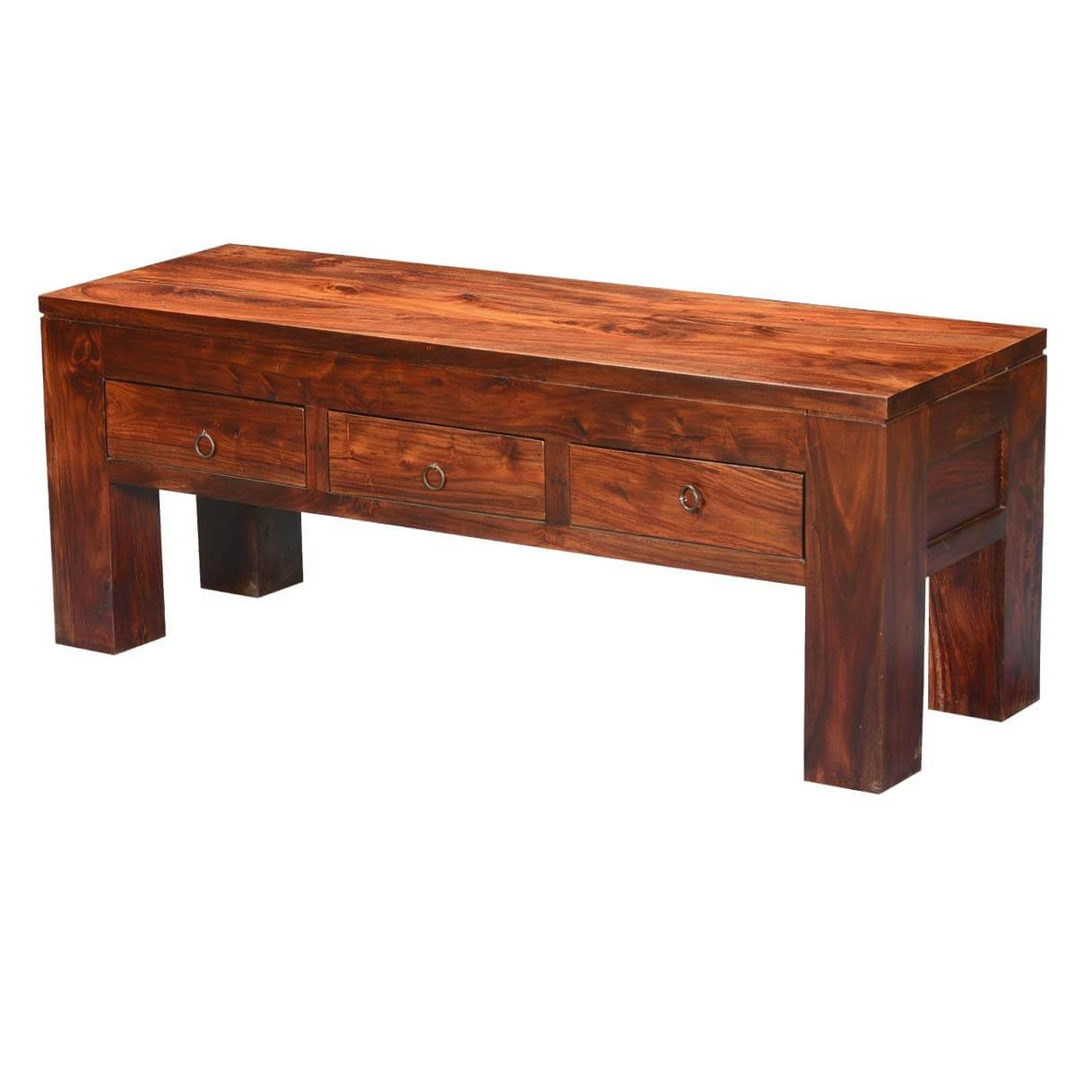 Solid Wood Coffee Table With Drawers: Mission Modern Solid Wood Hidden Drawers Coffee Table